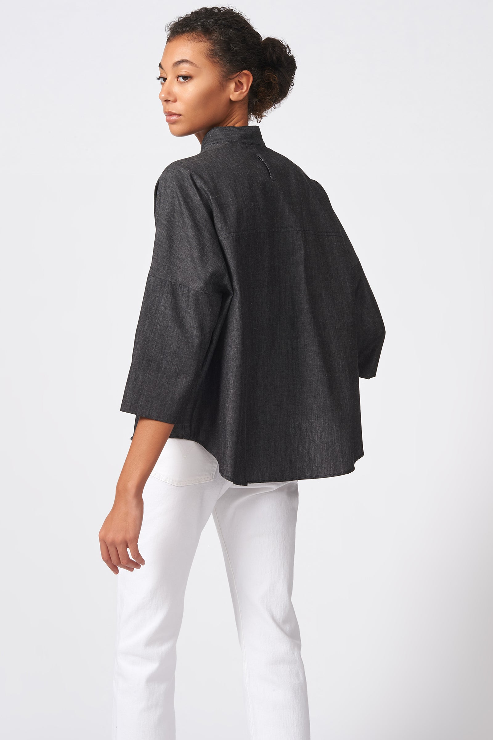 Kal Rieman Drop Shoulder Top in Dark Denim on Model Back Full View