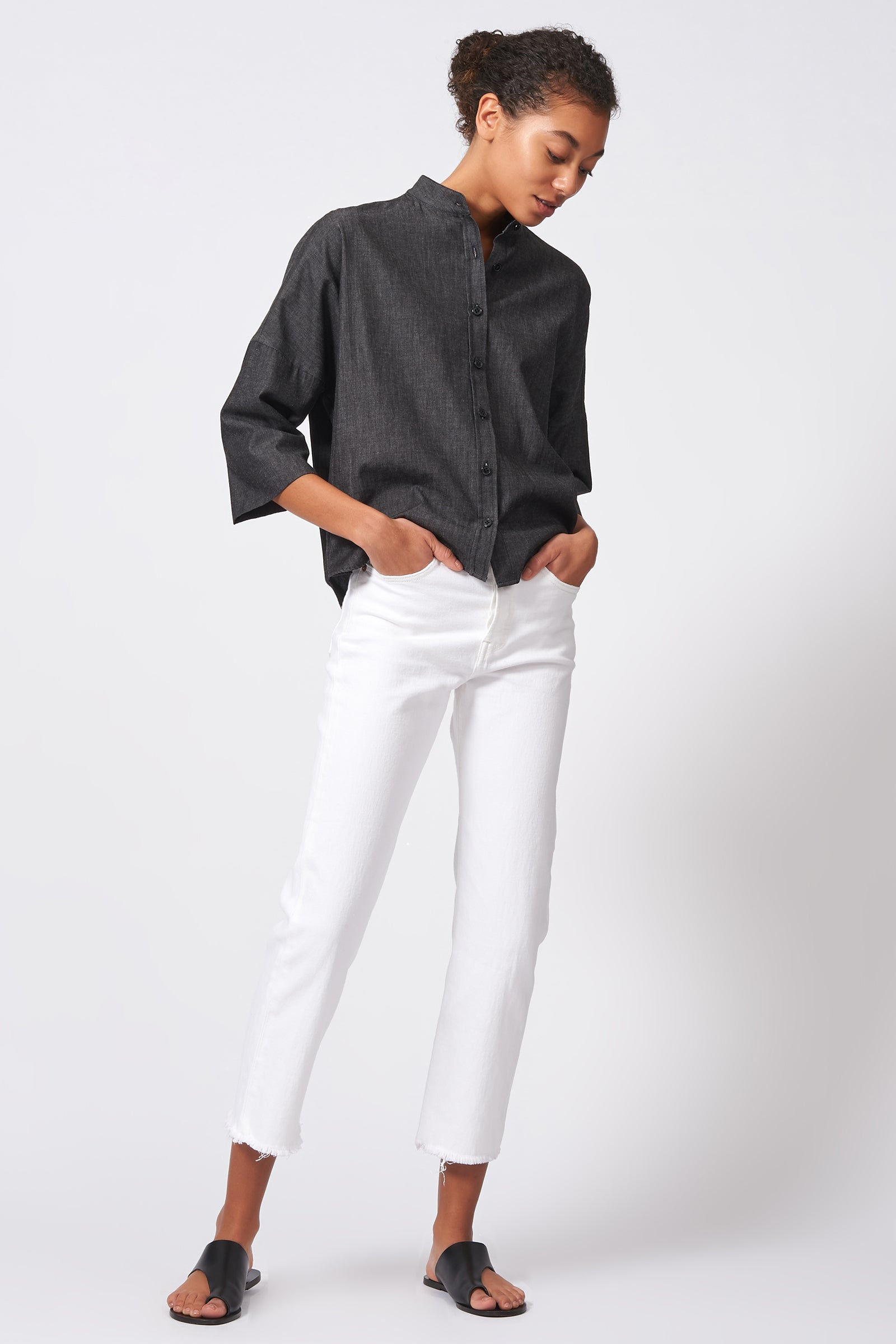 Kal Rieman Drop Shoulder Top in Dark Denim on Model Front Side Full View