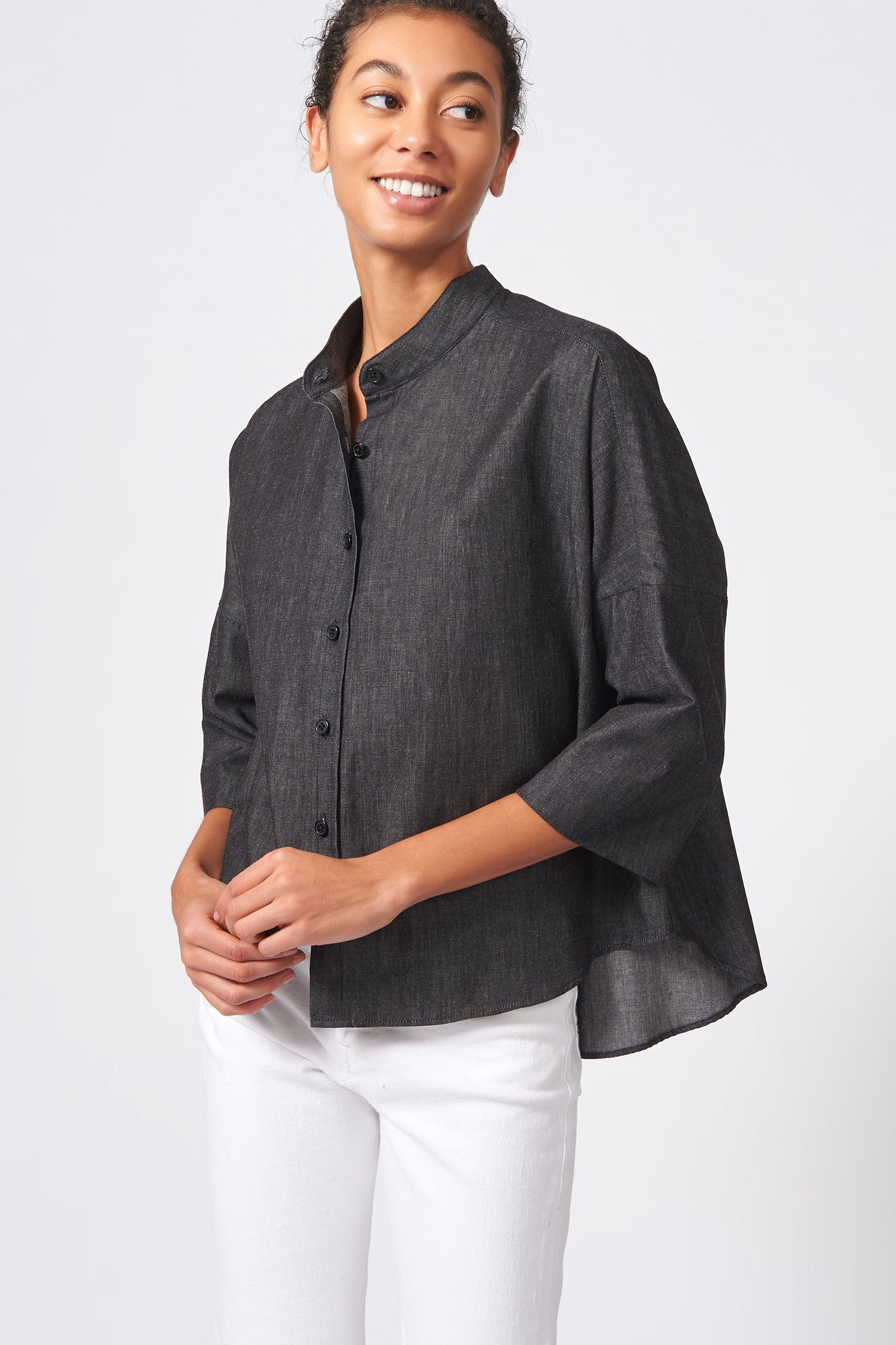 Kal Rieman Drop Shoulder Top in Dark Denim on Model Front View