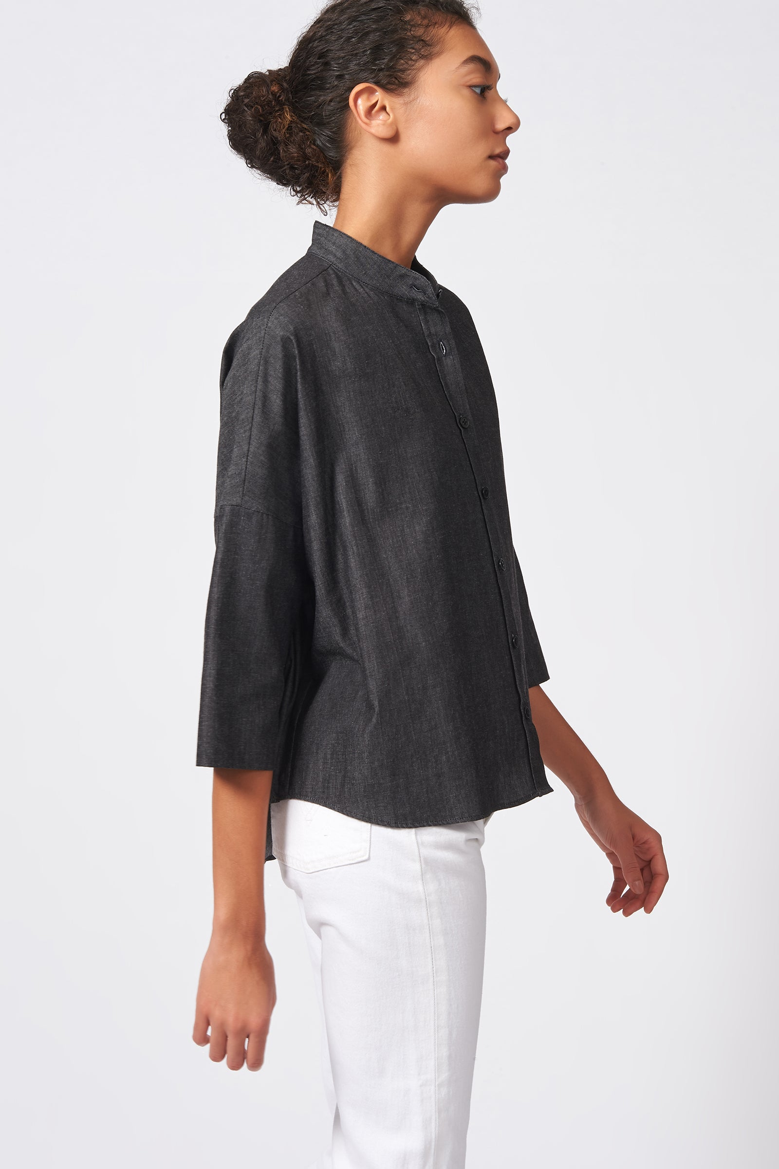 Kal Rieman Drop Shoulder Top in Dark Denim on Model Side View