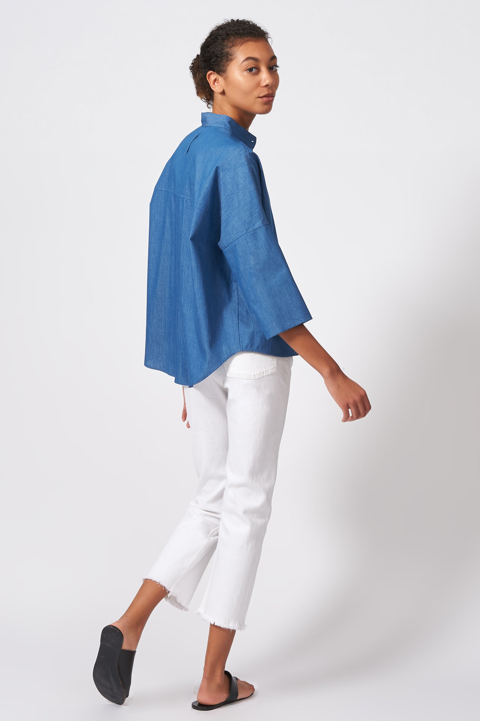 Kal Rieman Drop Shoulder Top in Light Indigo on Model Front Full View