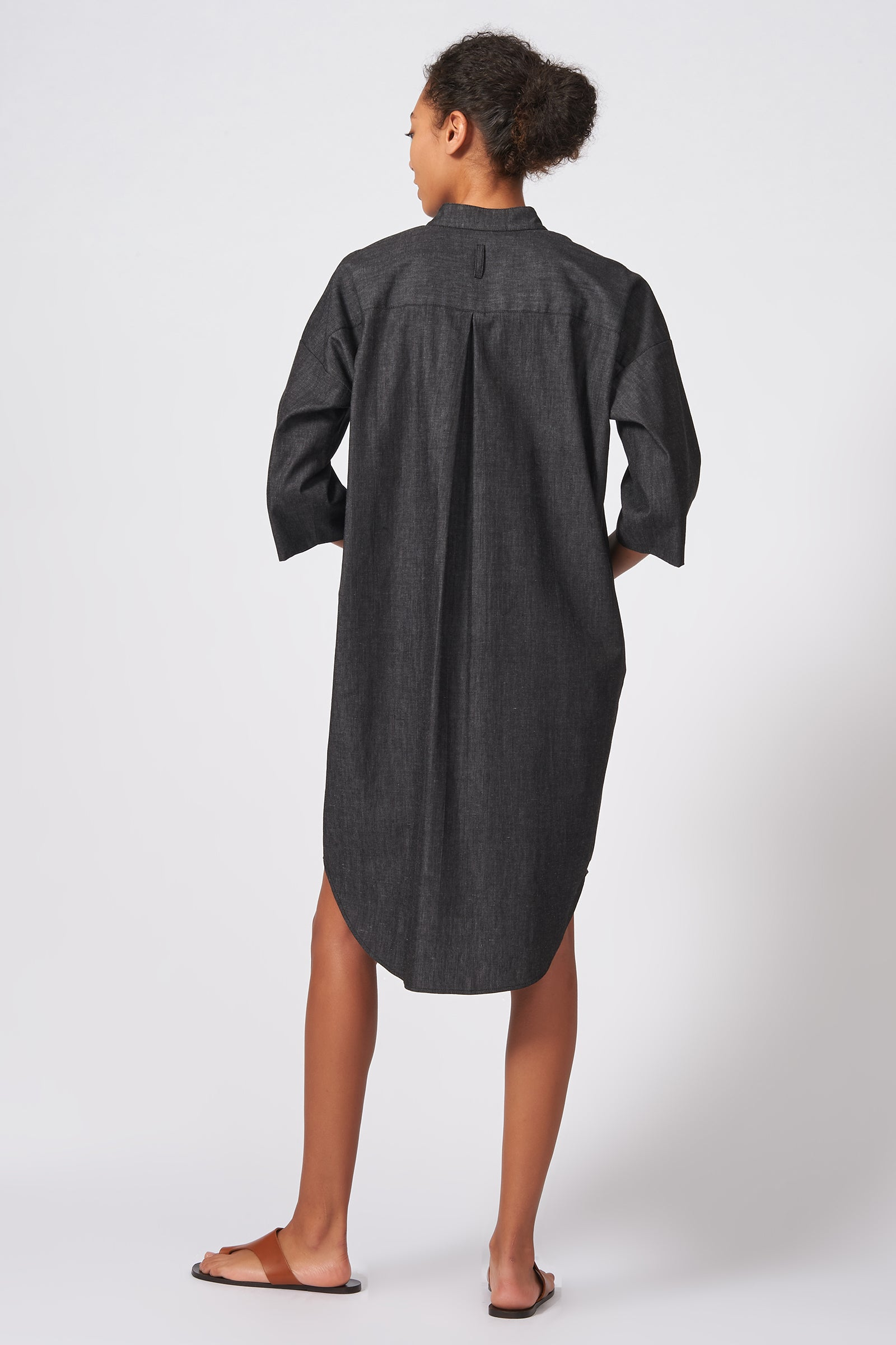 Kal Rieman Drop Sleeve Shirt Dress in Dark Denim on Model Back Full View