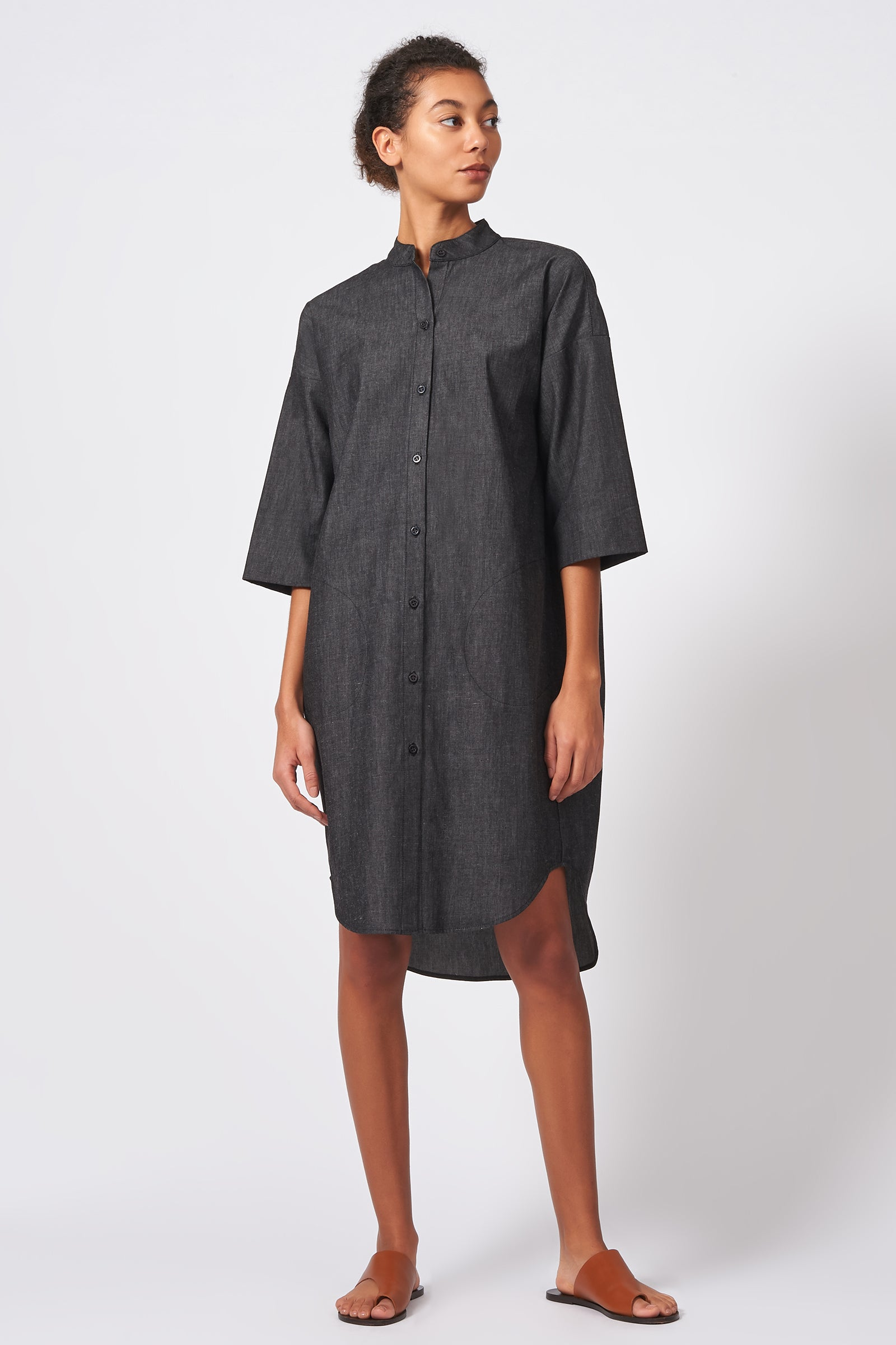 Kal Rieman Drop Sleeve Shirt Dress in Dark Denim on Model Front Full View