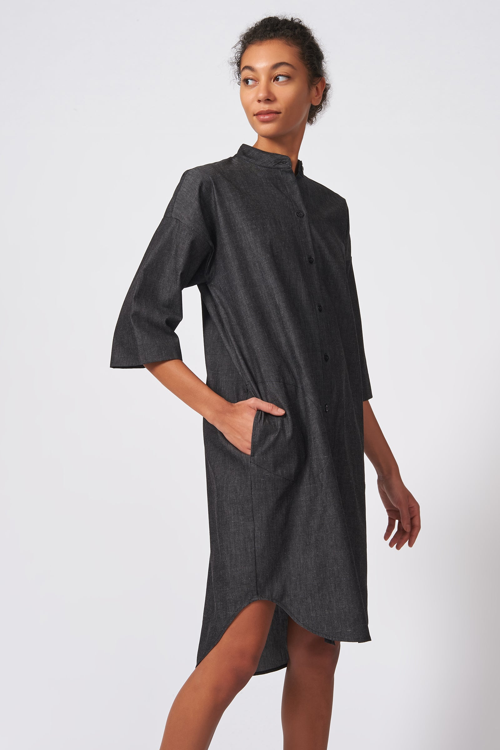 Kal Rieman Drop Sleeve Shirt Dress in Dark Denim on Model Front Side View