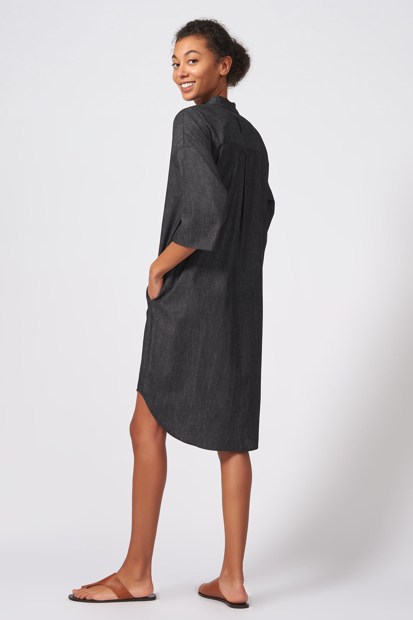 Kal Rieman Drop Sleeve Shirt Dress in Dark Denim on Model Side View
