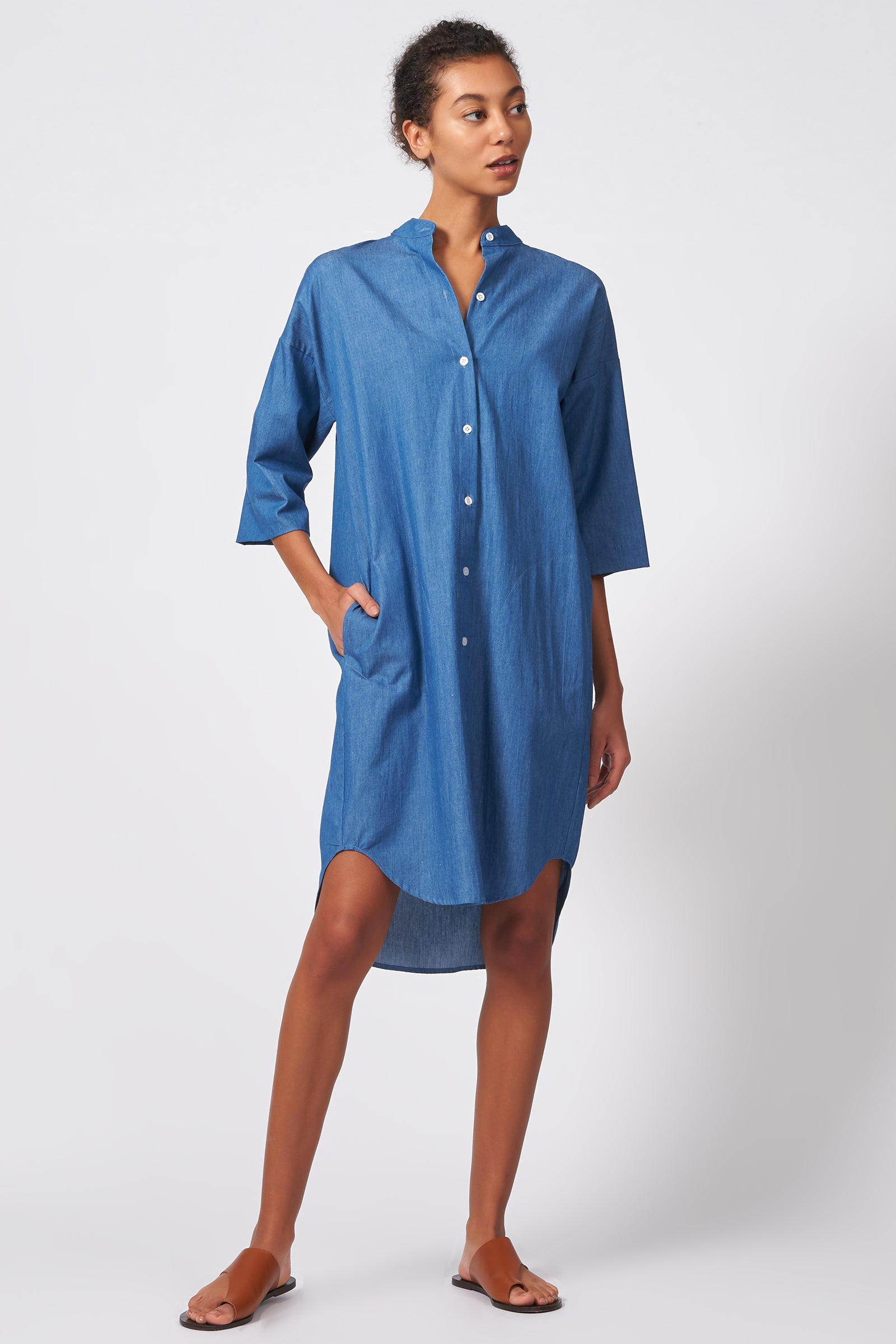 Kal Rieman Drop Sleeve Shirt Dress in Light Indigo on Model Front Full View