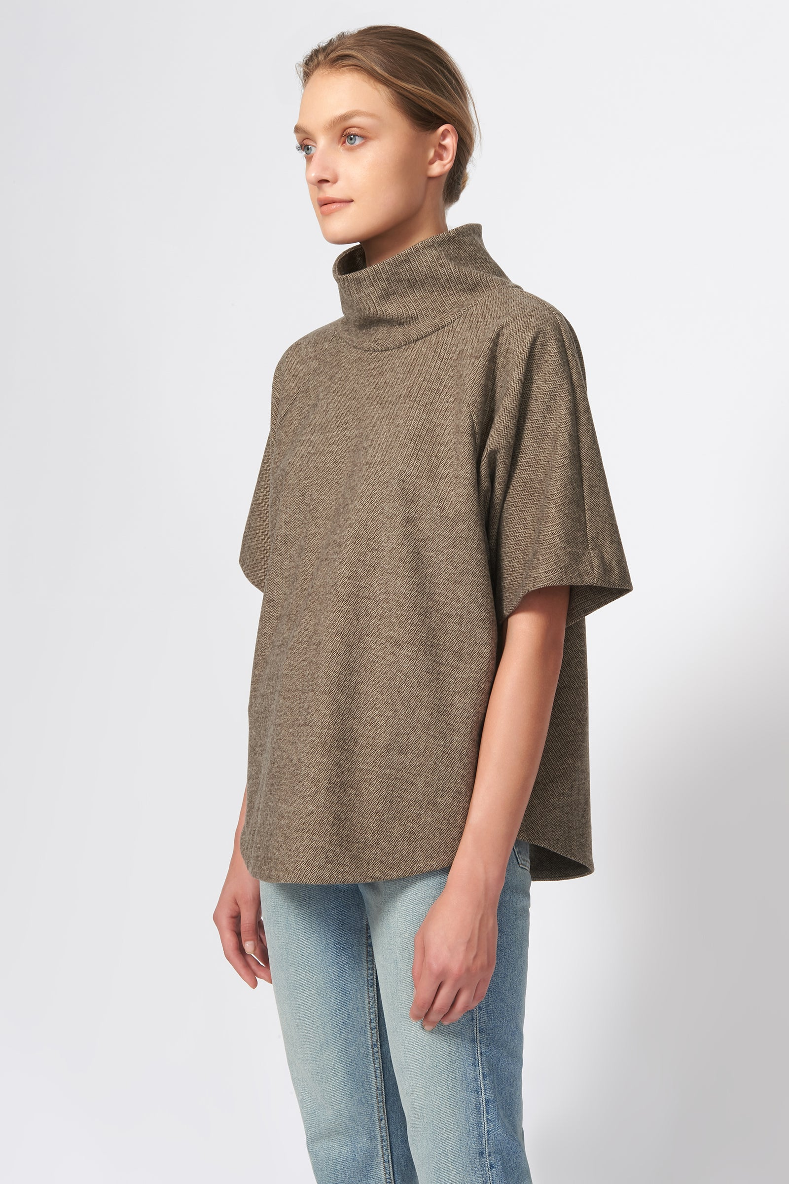 Kal Rieman Drop Sleeve T-Neck in Taupe Chevron on Model Side View