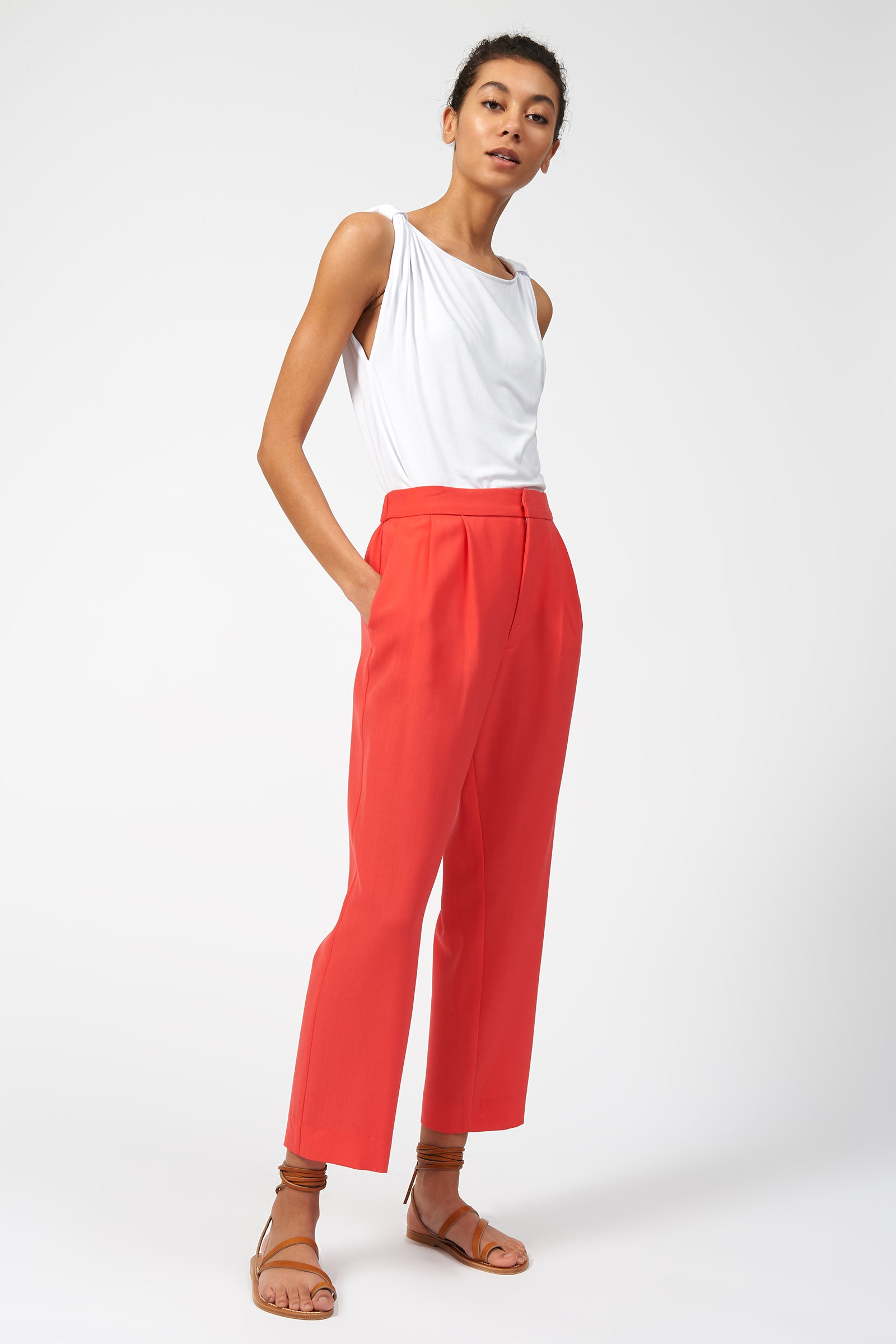 Kal Rieman Elastic Back Trouser in Coral Voyager on Model Full Front Side View
