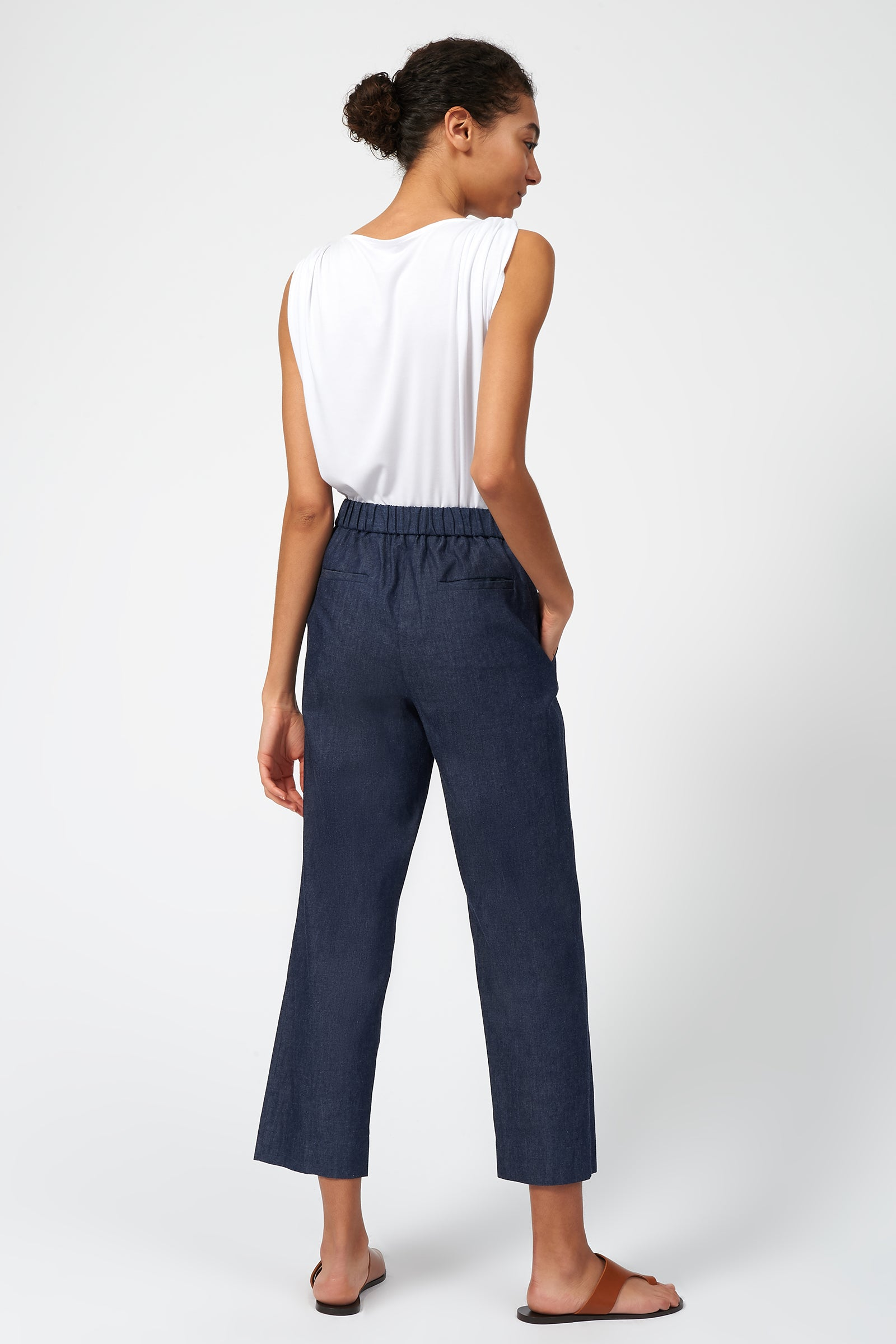Kal Rieman Elastic Back Trouser in Denim on Model Full Front View