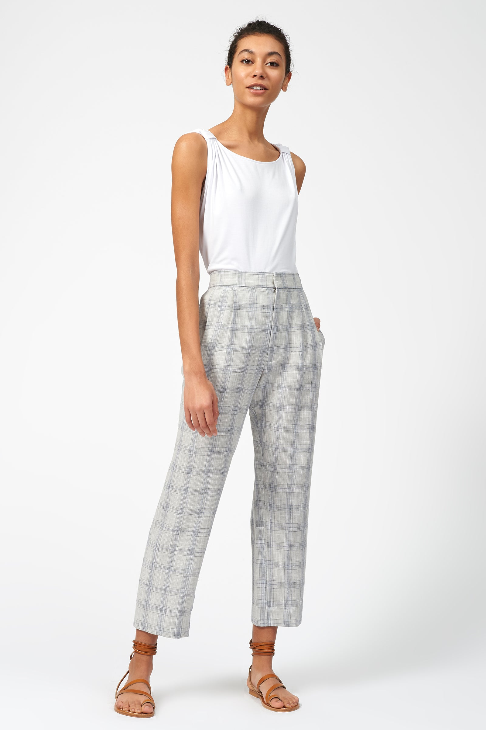 Kal Rieman Elastic Back Trouser in Summer Plaid on Model Full Front View