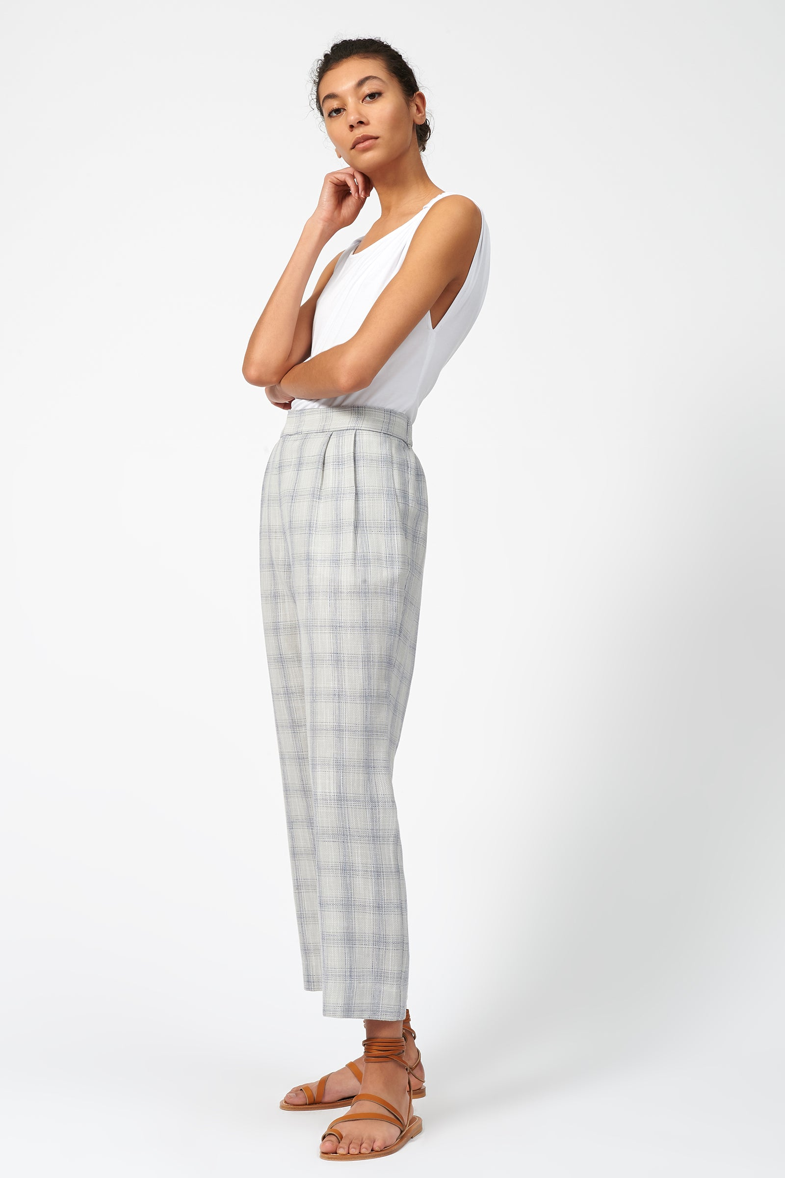 Kal Rieman Elastic Back Trouser in Summer Plaid on Model Full Front Side View