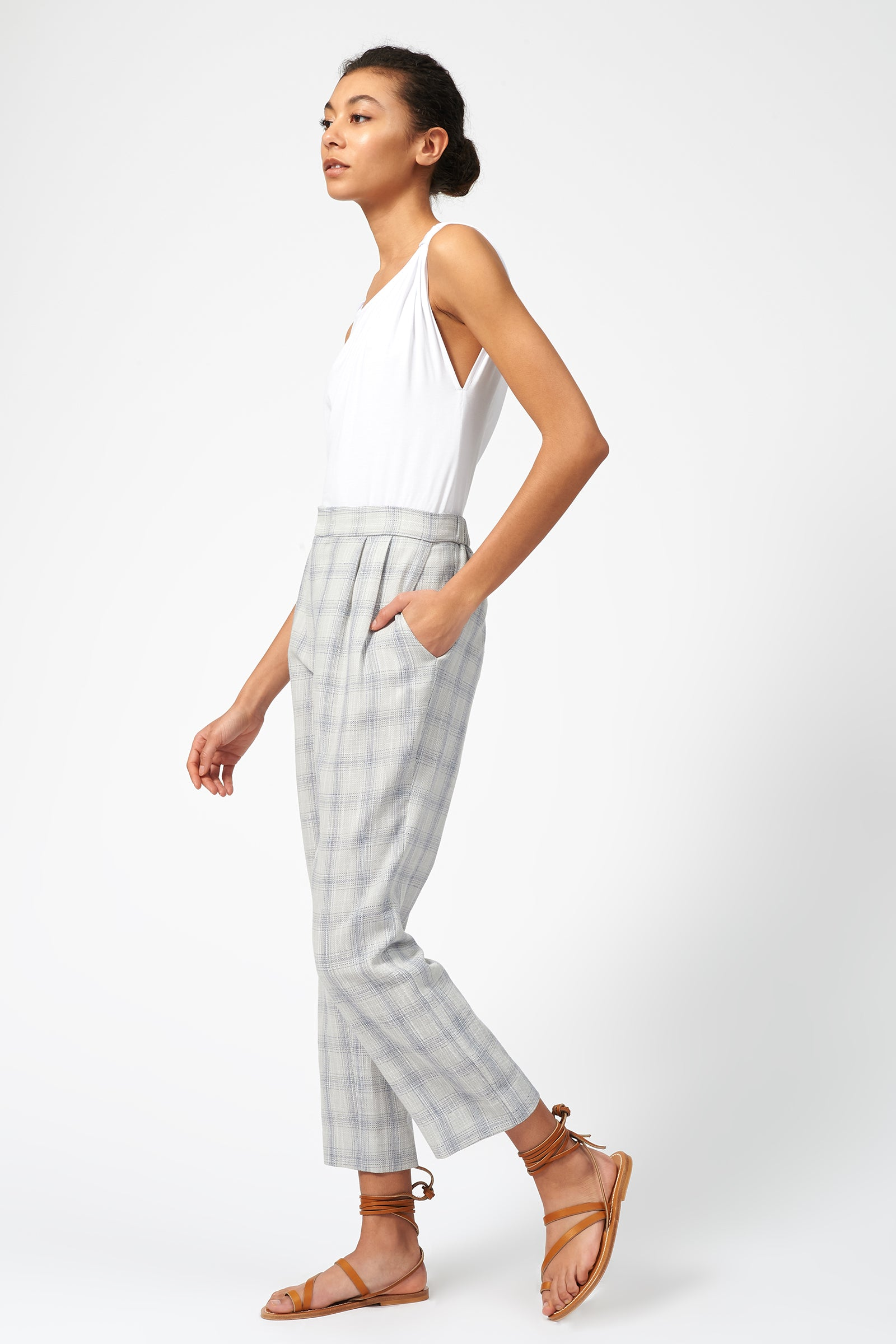 Kal Rieman Elastic Back Trouser in Summer Plaid on Model Full Side View