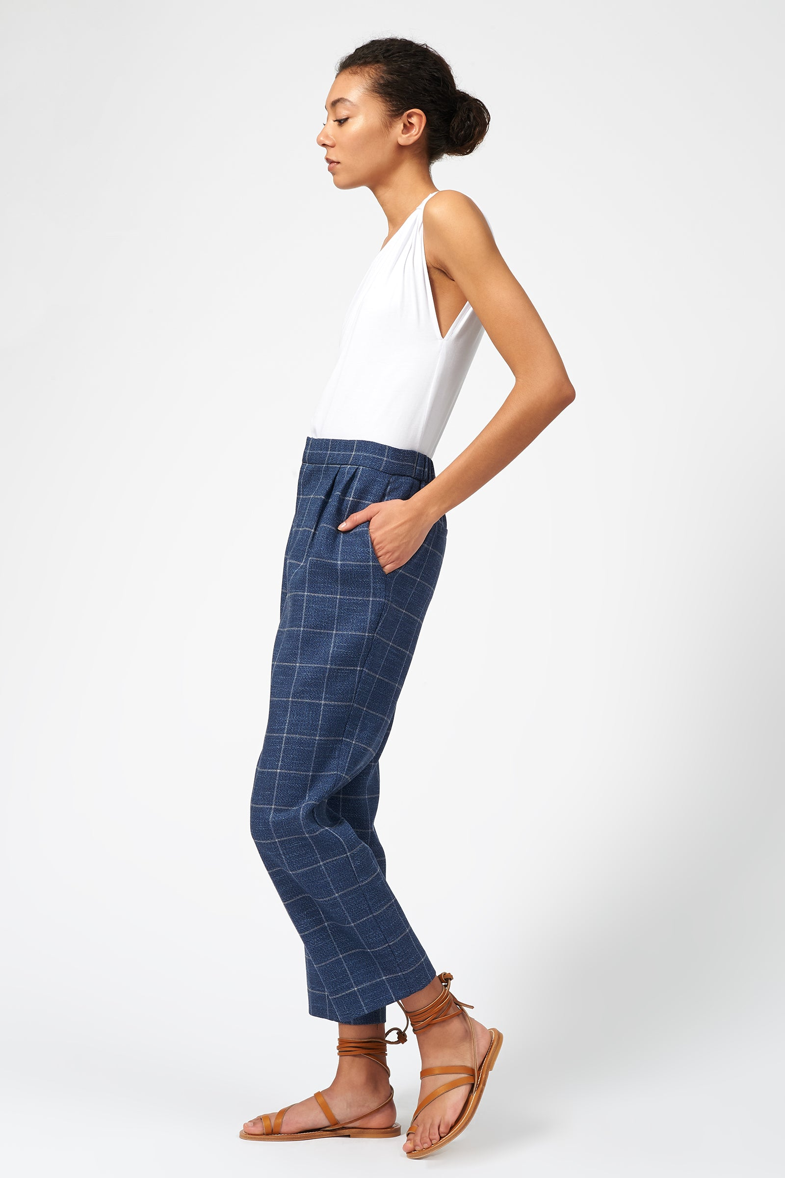 Kal Rieman Elastic Back Trouser in Windowpane on Model Full Side View