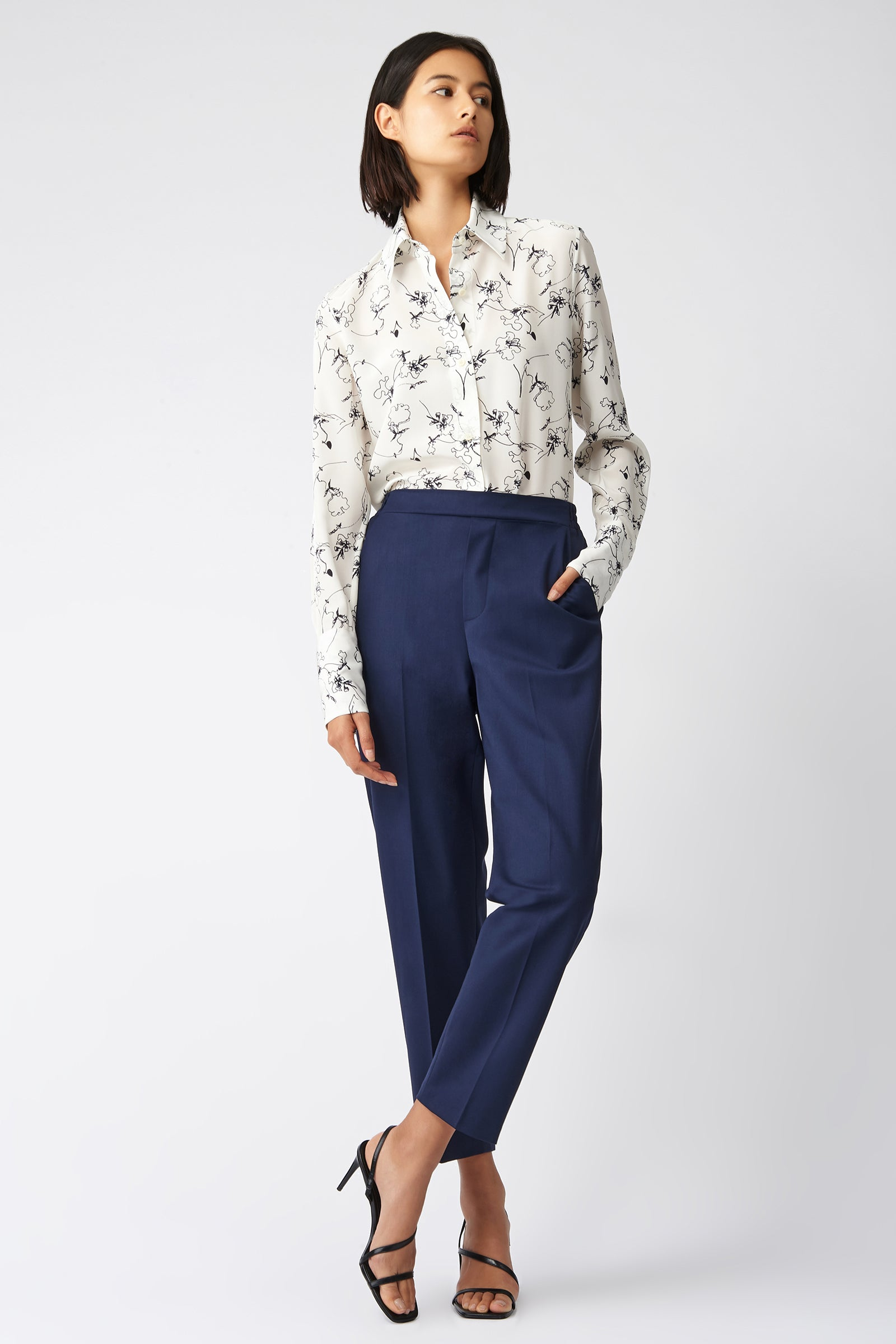 Kal Rieman Elastic Back Trouser in Navy on Model Full Front View