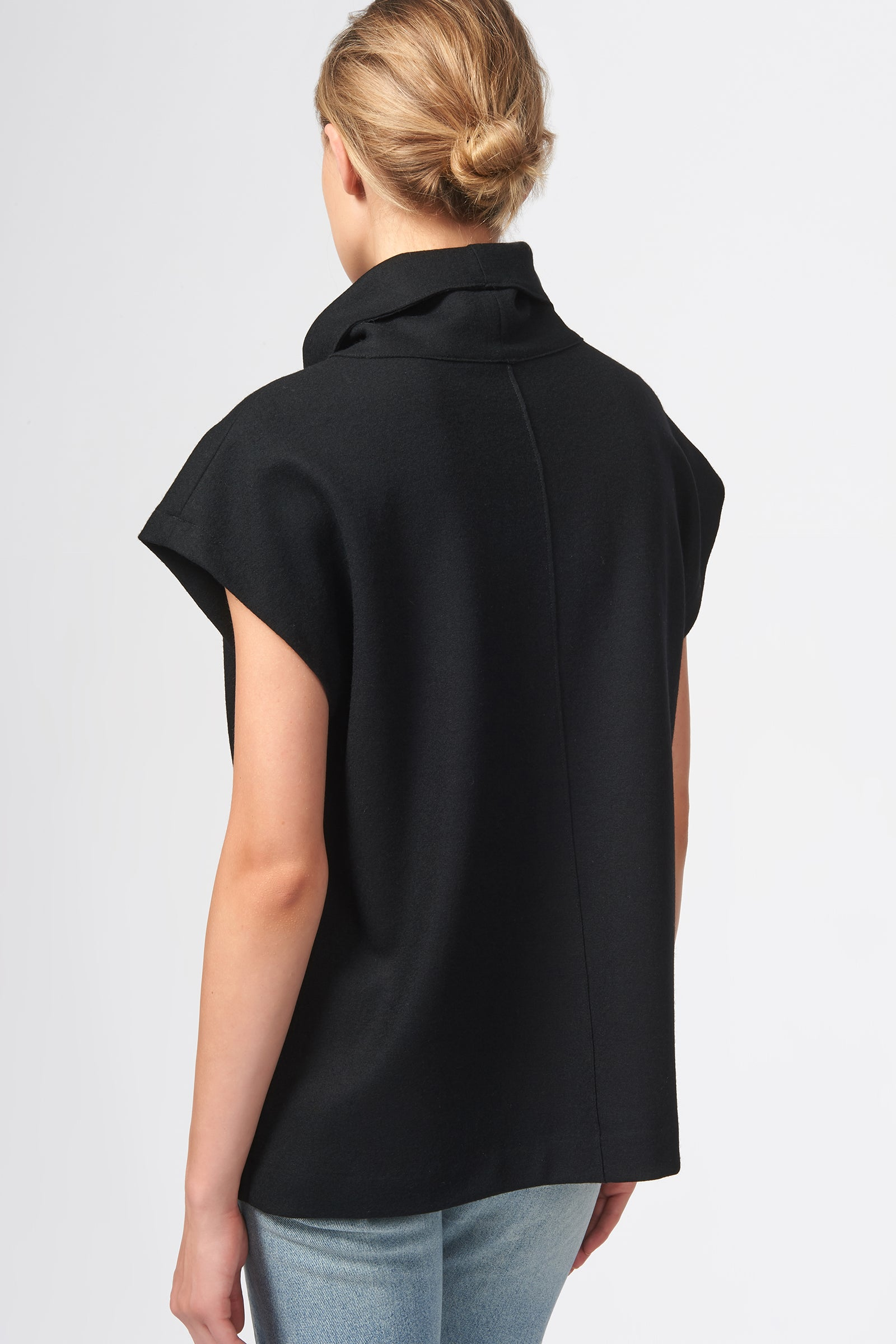 Kal Rieman Seamed Cap Sleeve Turtleneck in Black on Model Front View