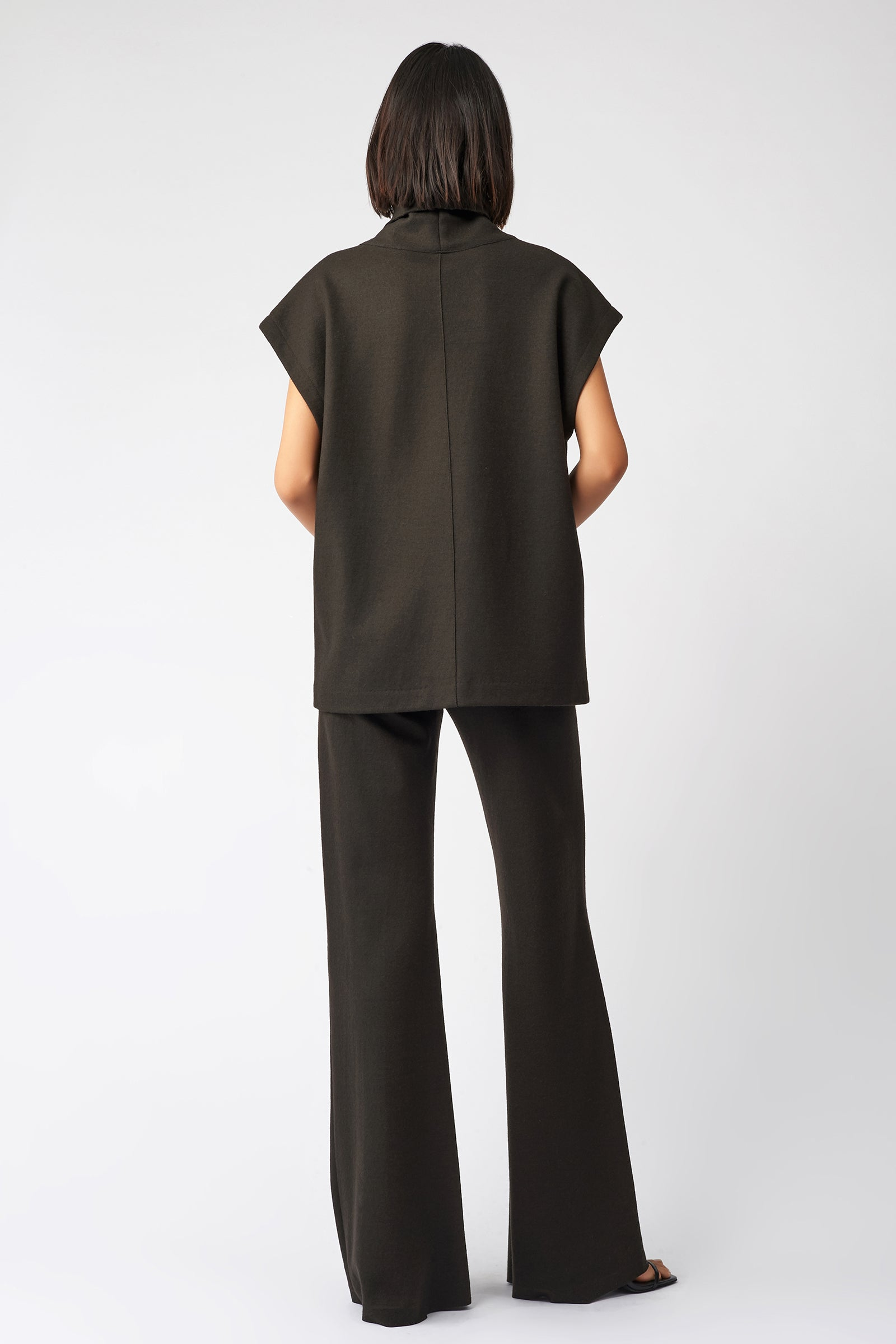 Kal Rieman Seamed Cap Sleeve Turtleneck in Espresso on Model Full Front View