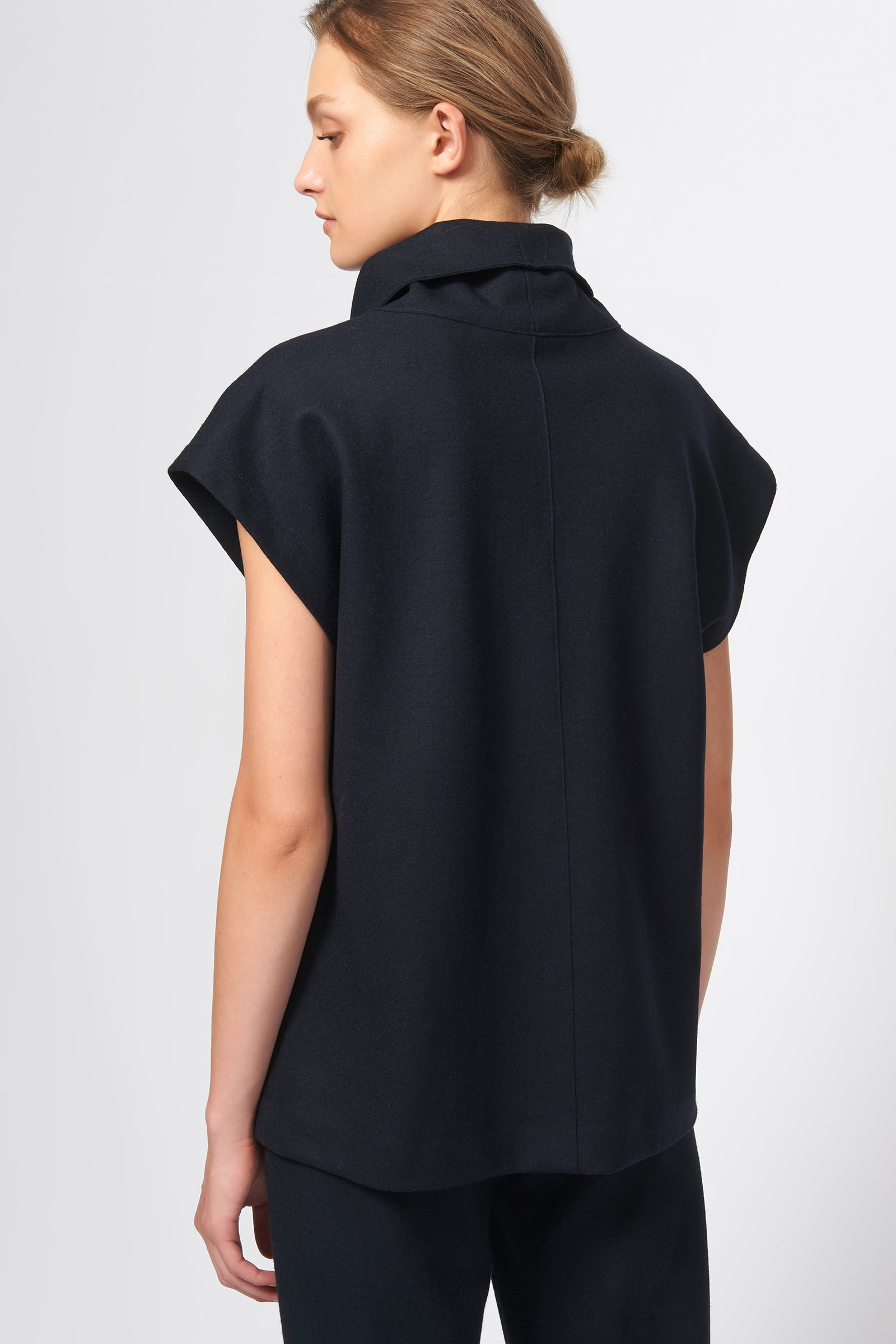 Kal Rieman Seamed Cap Sleeve Turtleneck in Midnight on Model Front View