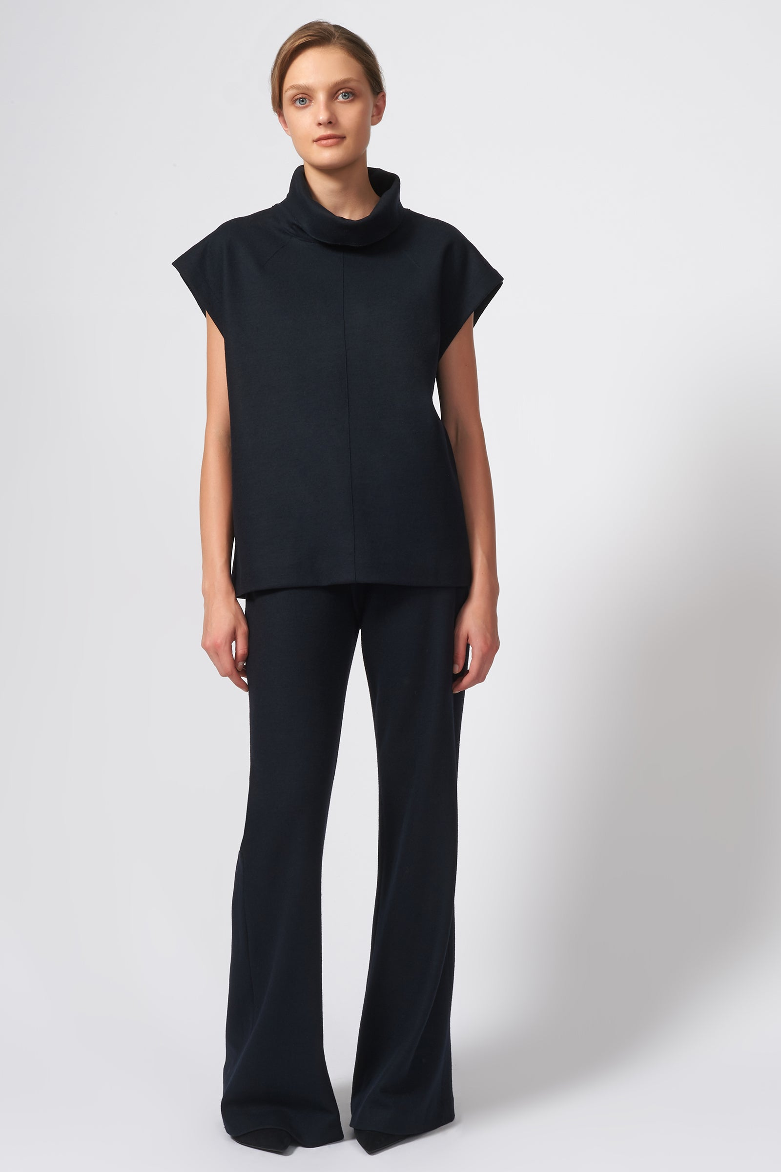 Kal Rieman Seamed Cap Sleeve Turtleneck in Midnight on Model Front Full View