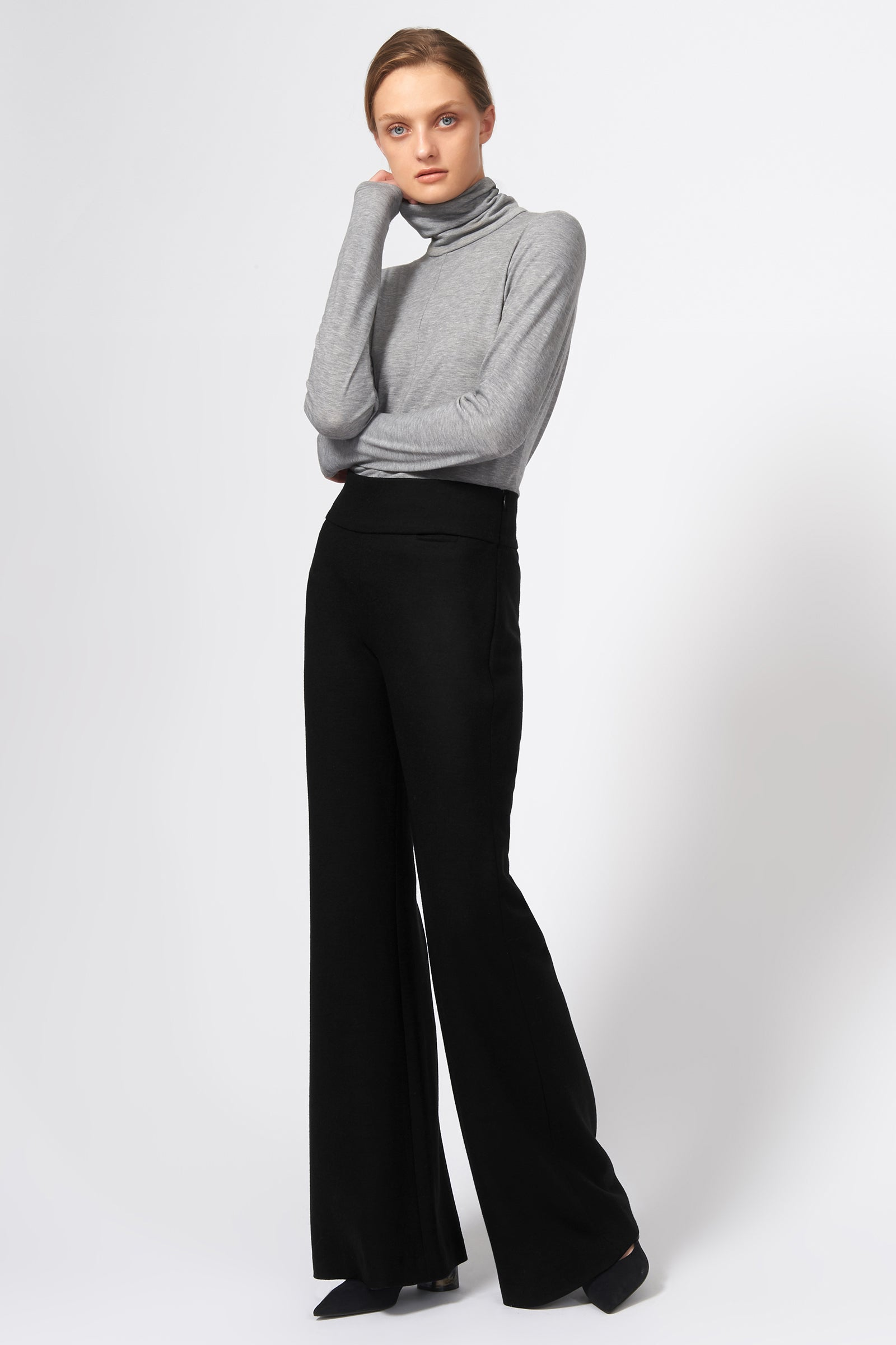 Kal Rieman Felted Jersey Wide Leg Pant in Black on Model Front Full View