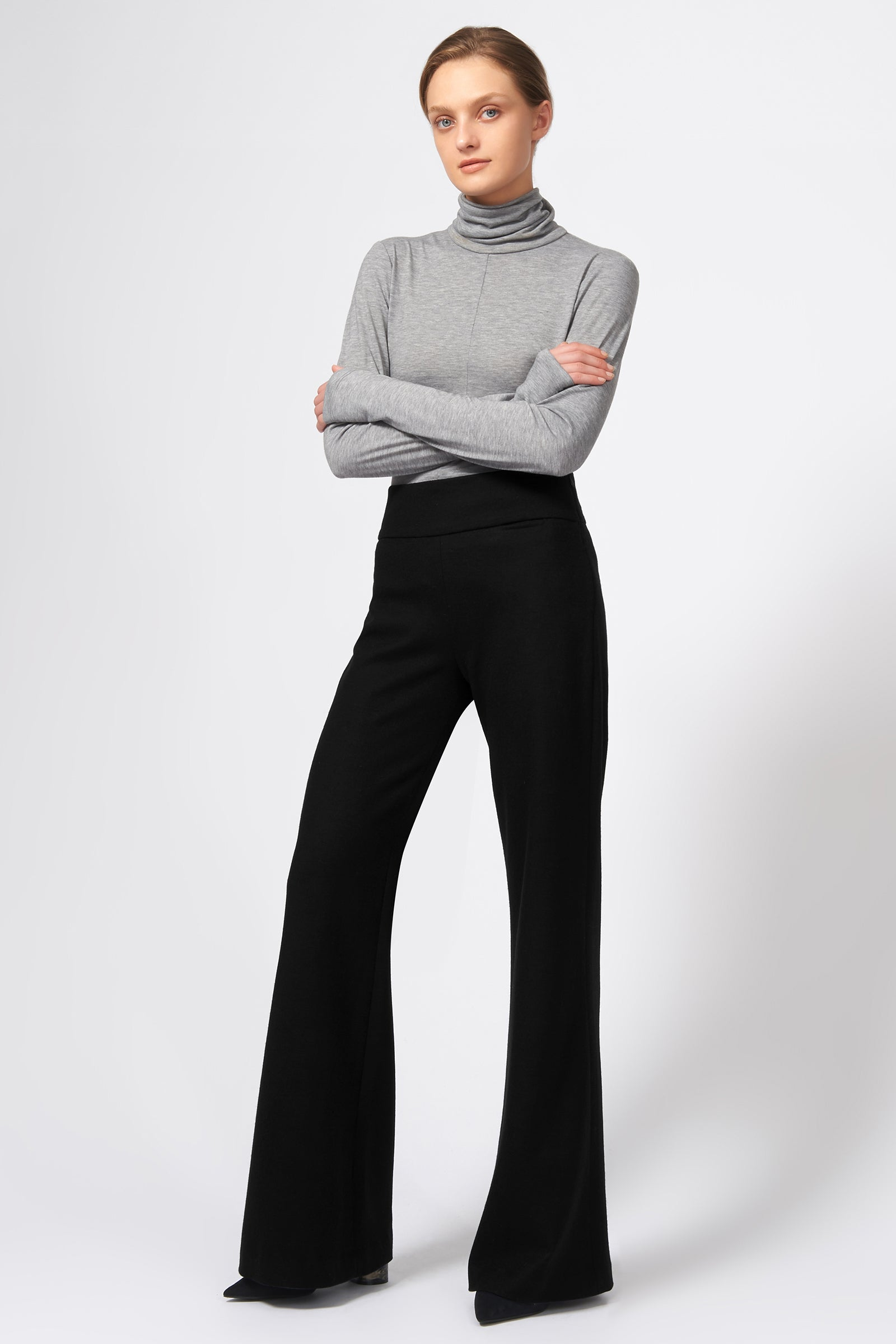 Kal Rieman Felted Jersey Wide Leg Pant in Black on Model Front Side View