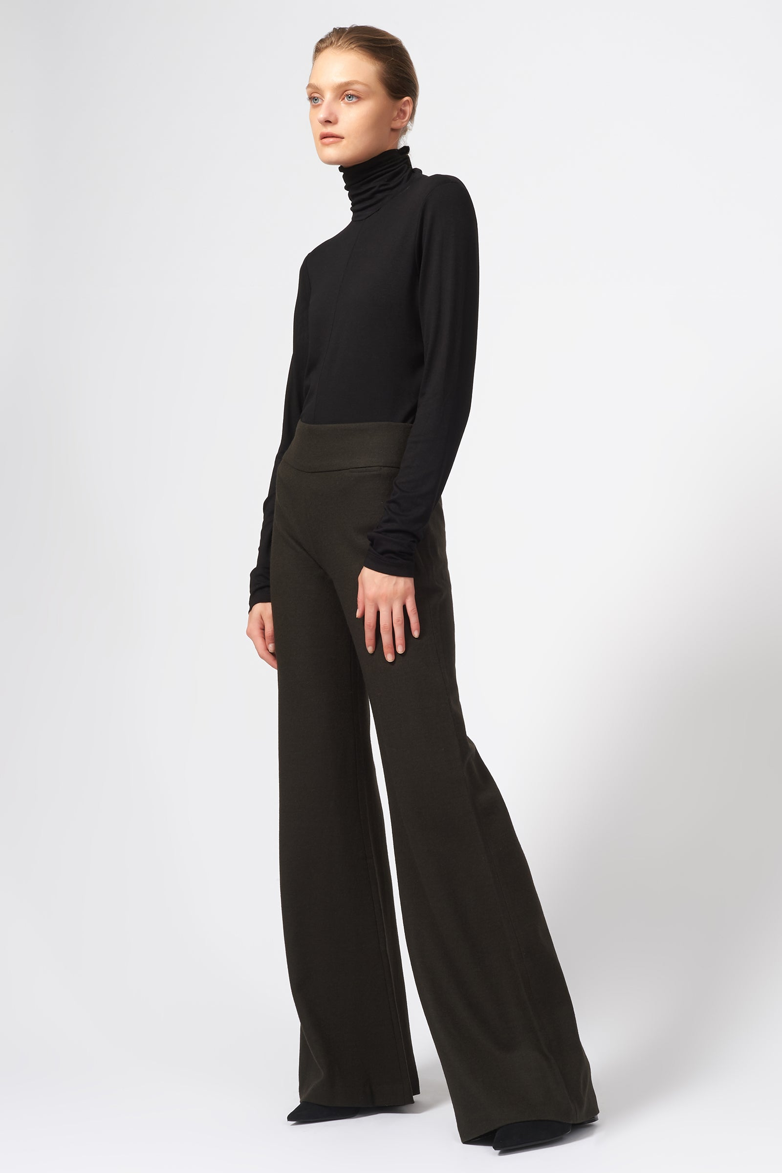 Kal Rieman Felted Jersey Wide Leg Pant in Espresso on Model Full Front View