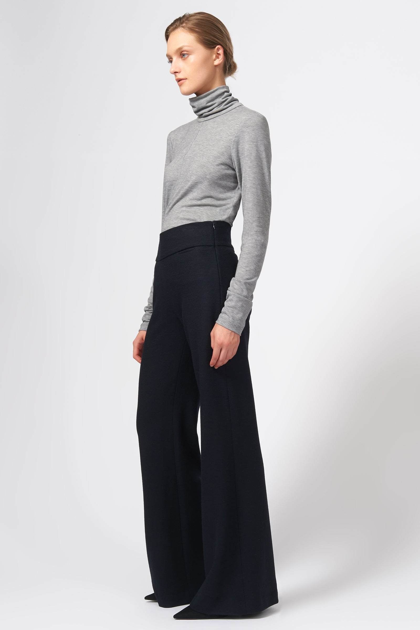 Kal Rieman Felted Jersey Wide Leg Pant in Midnight on Model Full Side View