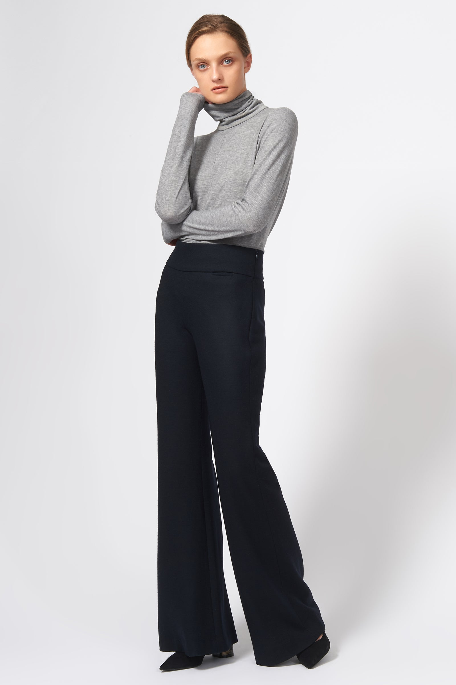 Kal Rieman Felted Jersey Wide Leg Pant in Midnight on Model Full Front View