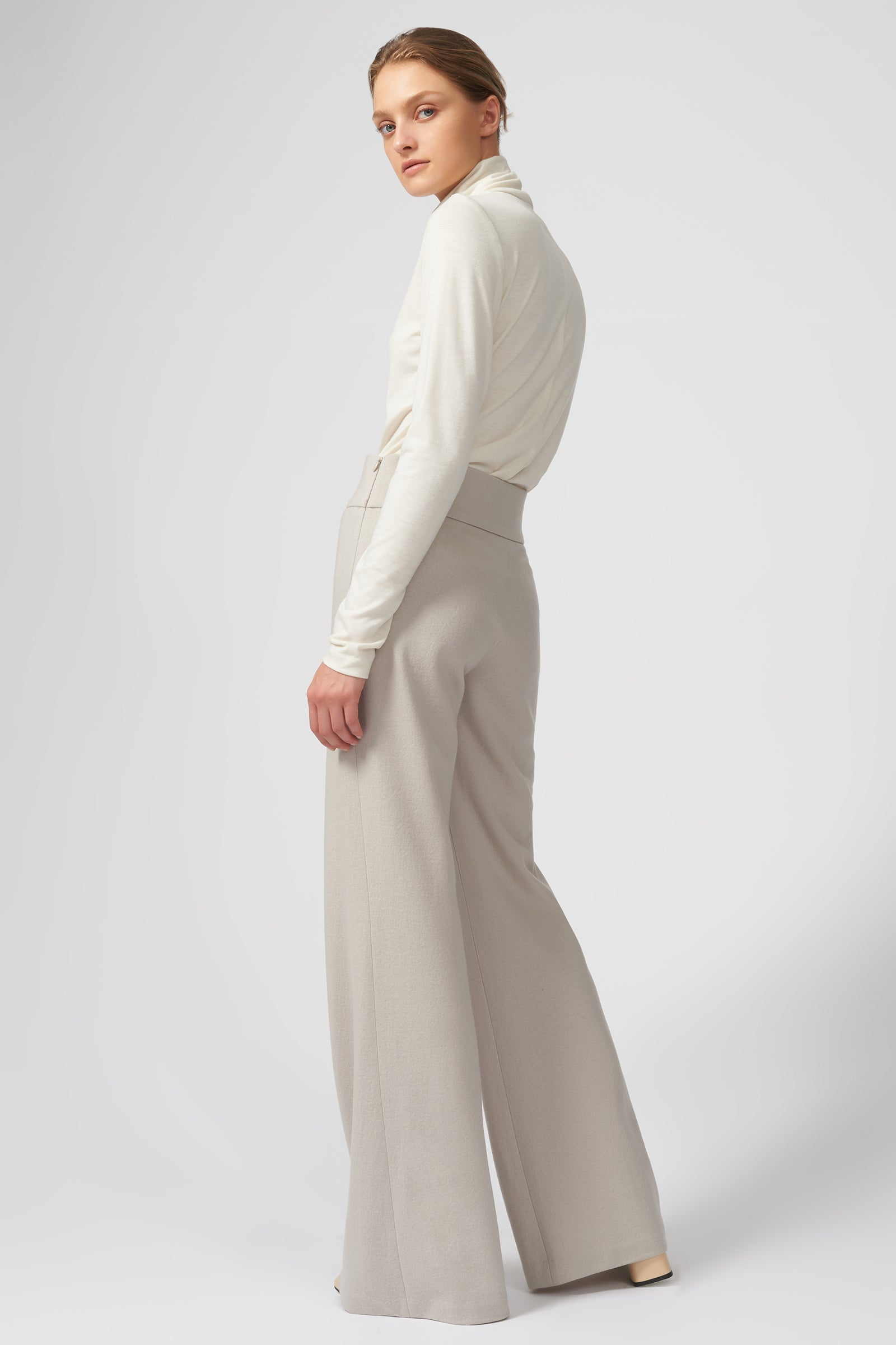 Kal Rieman Felted Jersey Wide Leg Pant in Mink on Model Full Front View