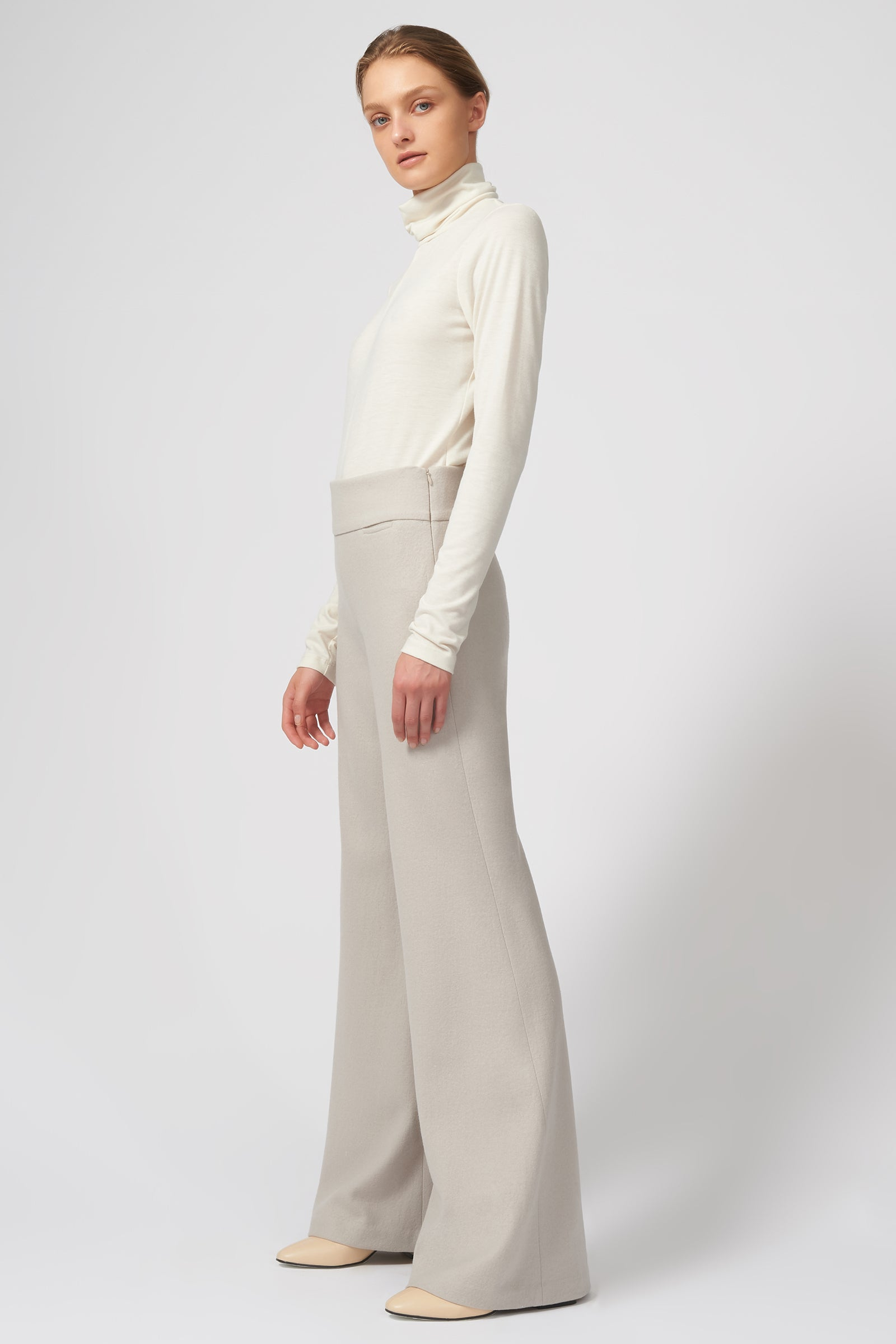 Kal Rieman Felted Jersey Wide Leg Pant in Mink on Model Full Side View
