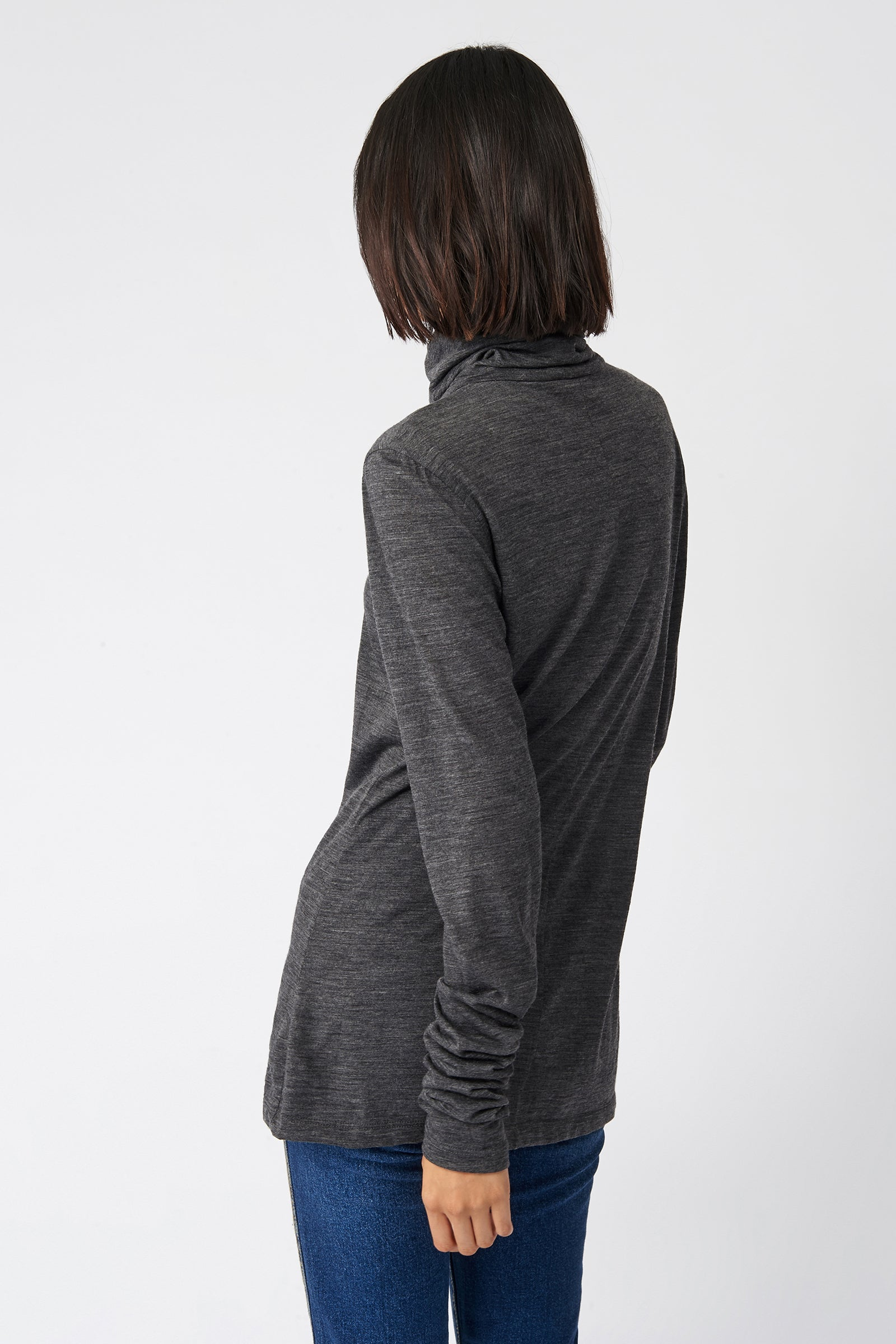 Kal Rieman Fitted Turtleneck in Charcoal on Model Front View