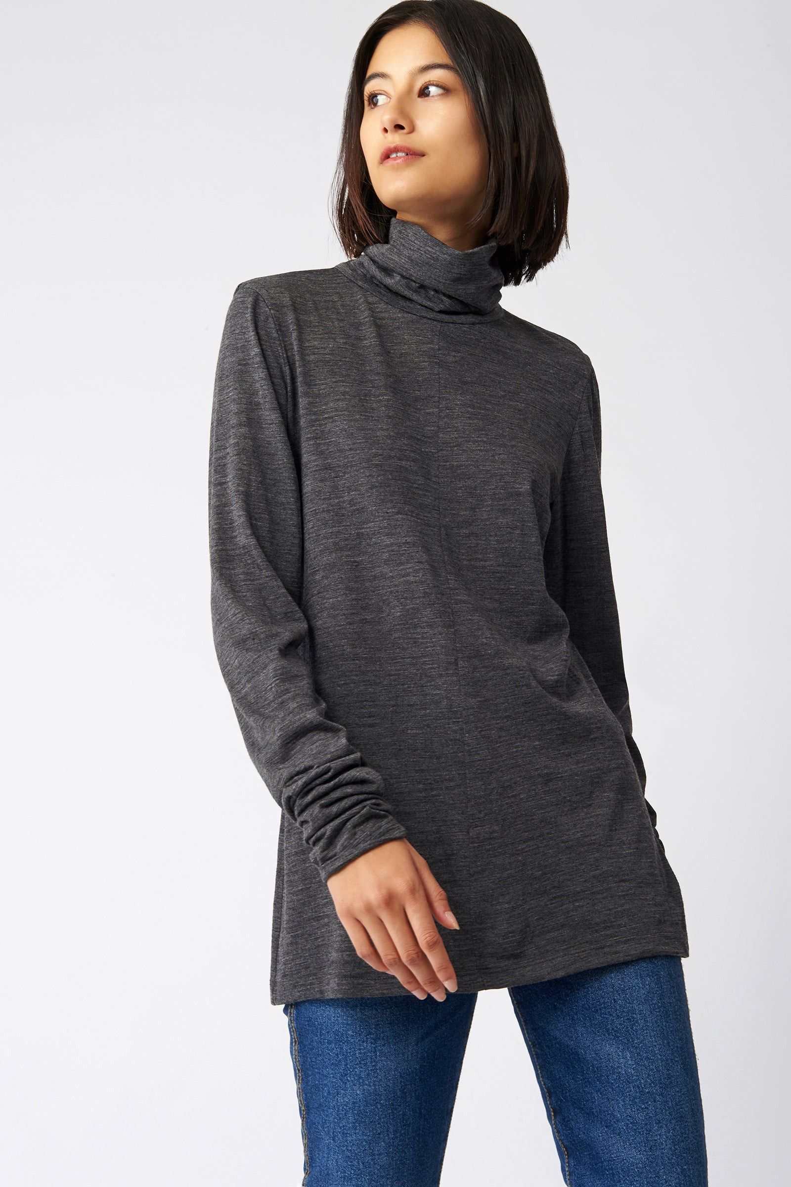 Kal Rieman Fitted Turtleneck in Charcoal on Model Front Side View
