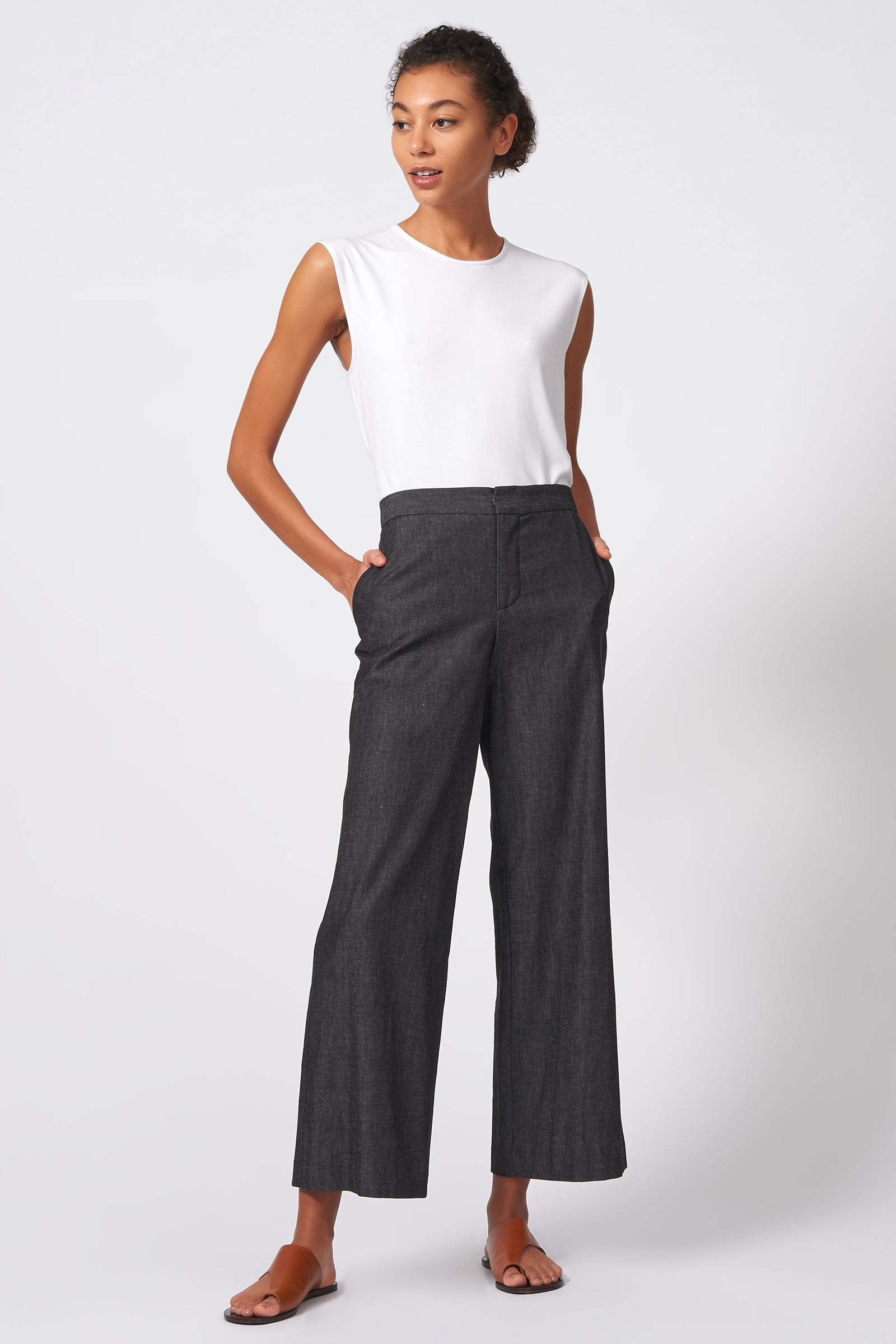 Kal Rieman Flat Front Trouser in Dark Denim on Model Full Front View
