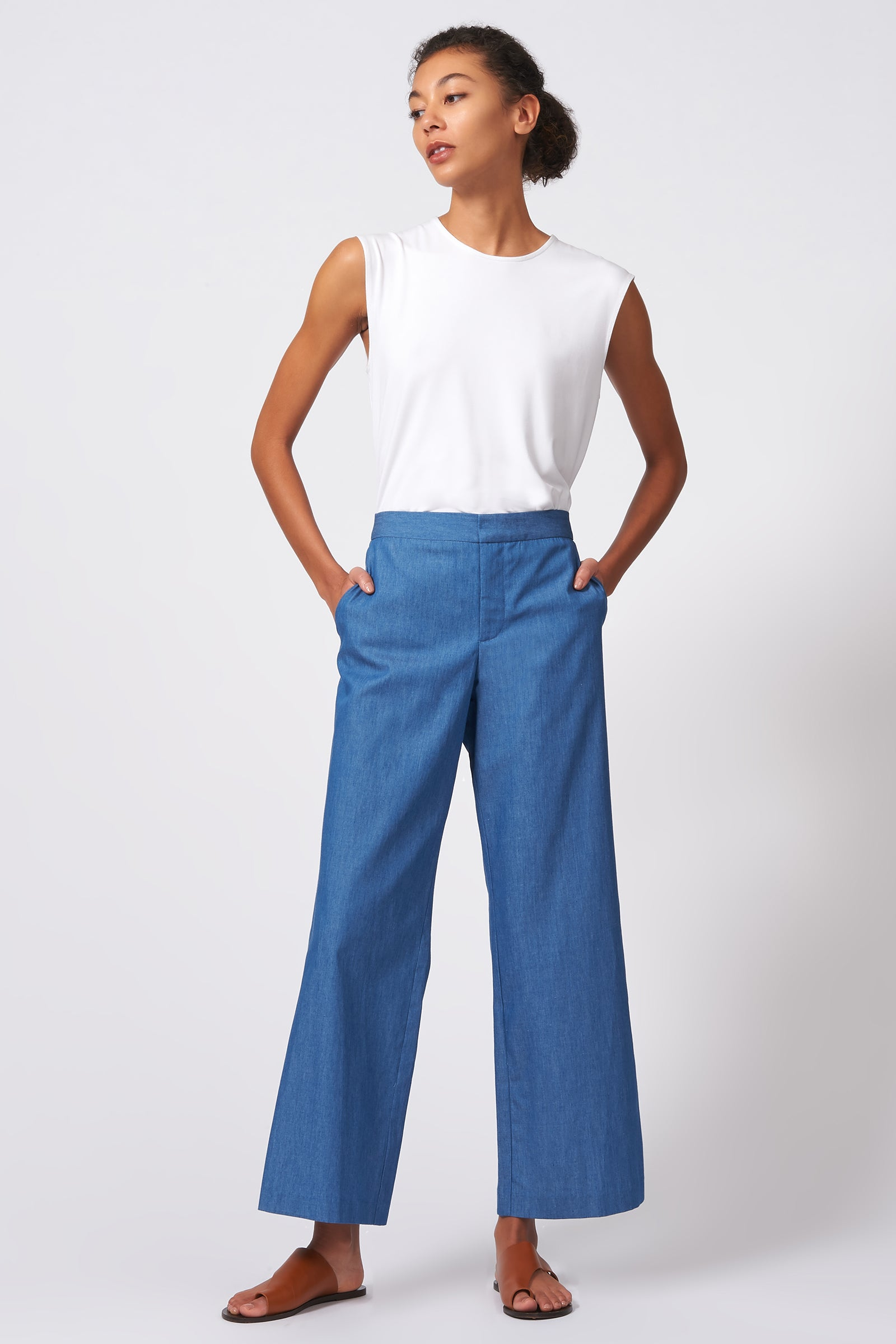 Kal Rieman Flat Front Trouser in Light Indigo on Model Full Front View