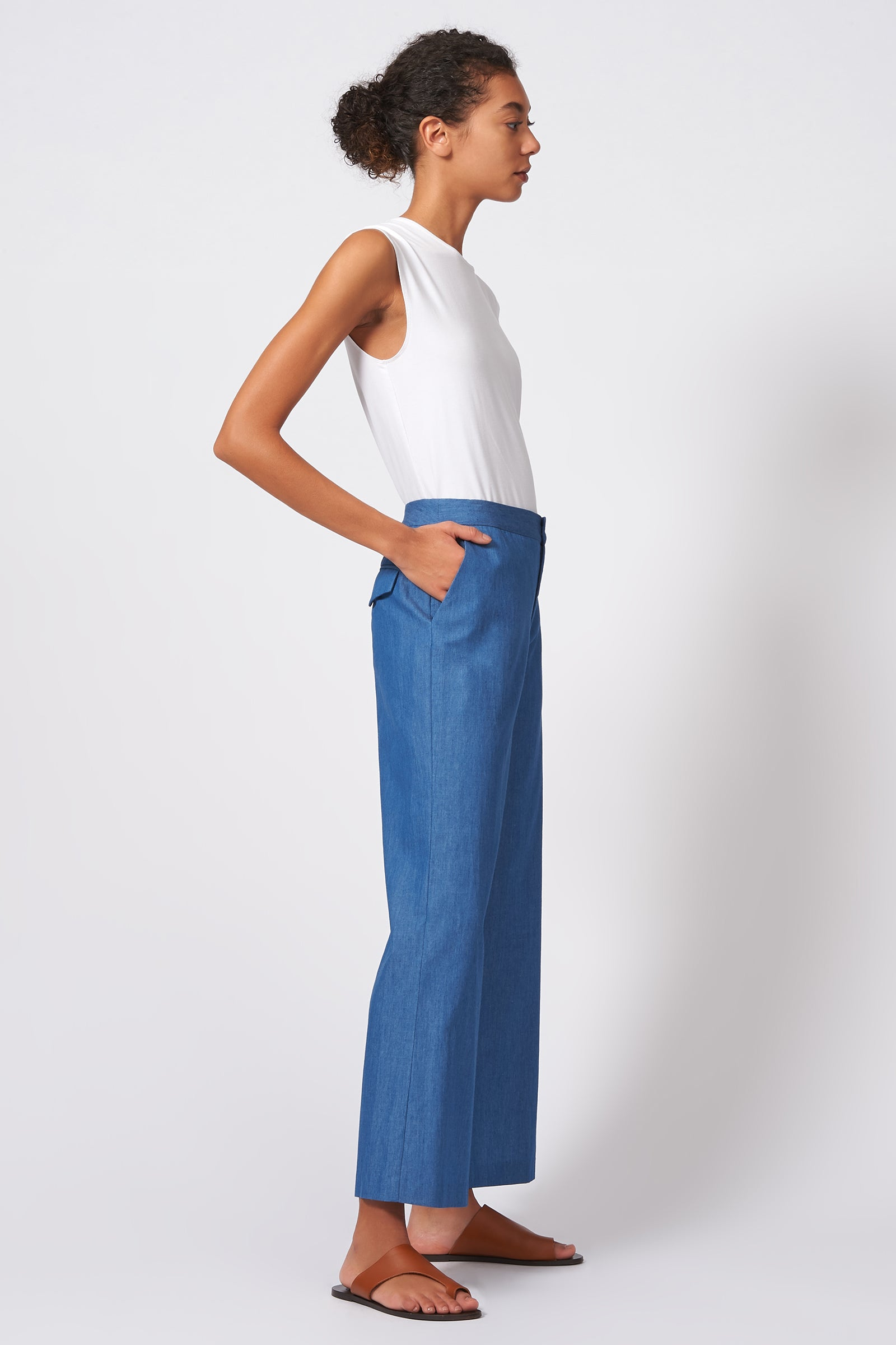 Kal Rieman Flat Front Trouser in Light Indigo on Model Full Side View