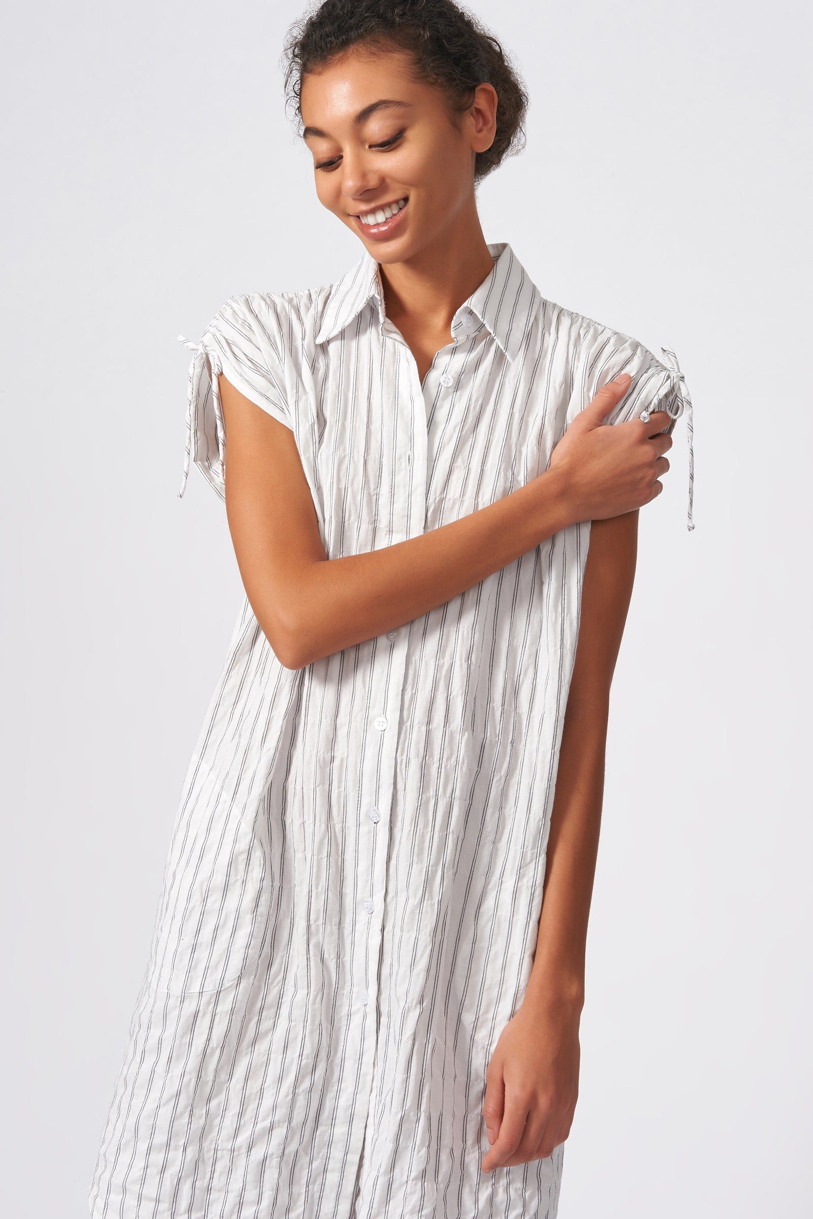 Kal Rieman Gathered Shoulder Dress in Black Stripe on Model Front Close-up View