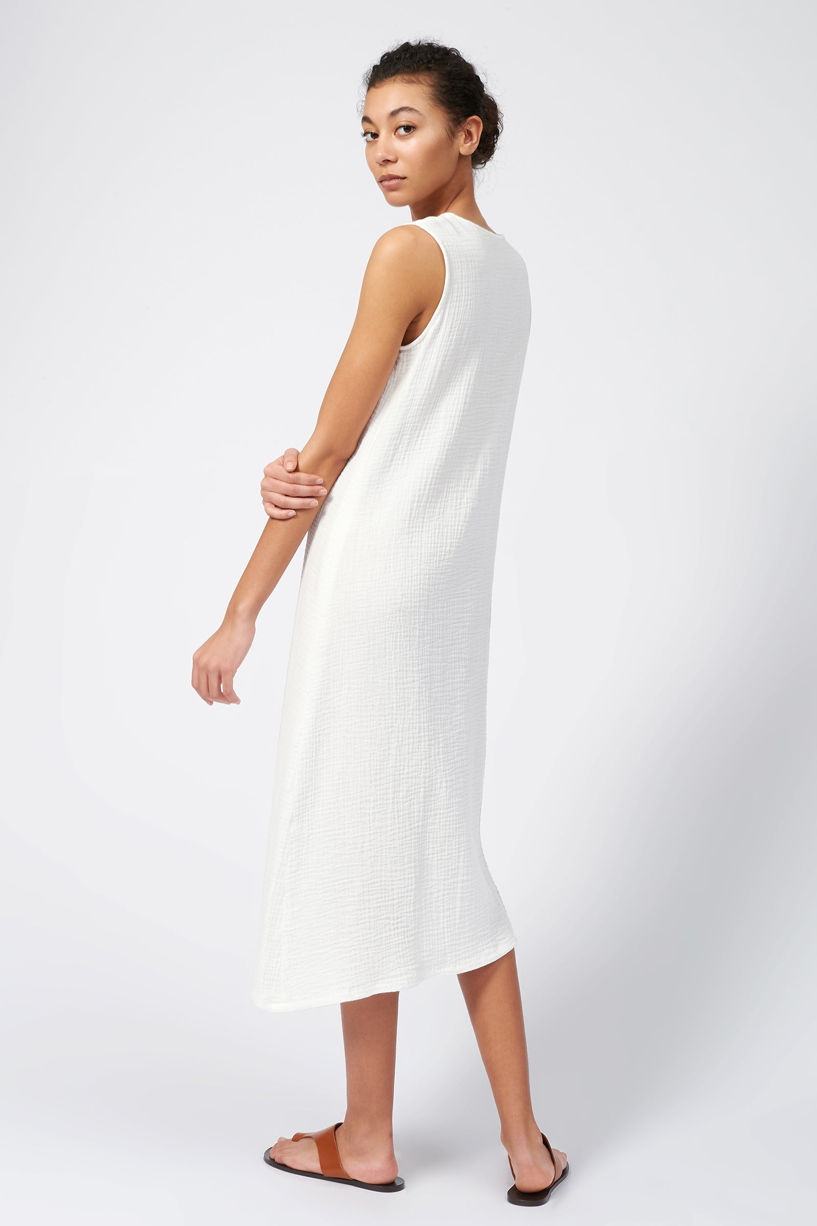 Kal Rieman Cinched Front Dress in Natural on Model Front View