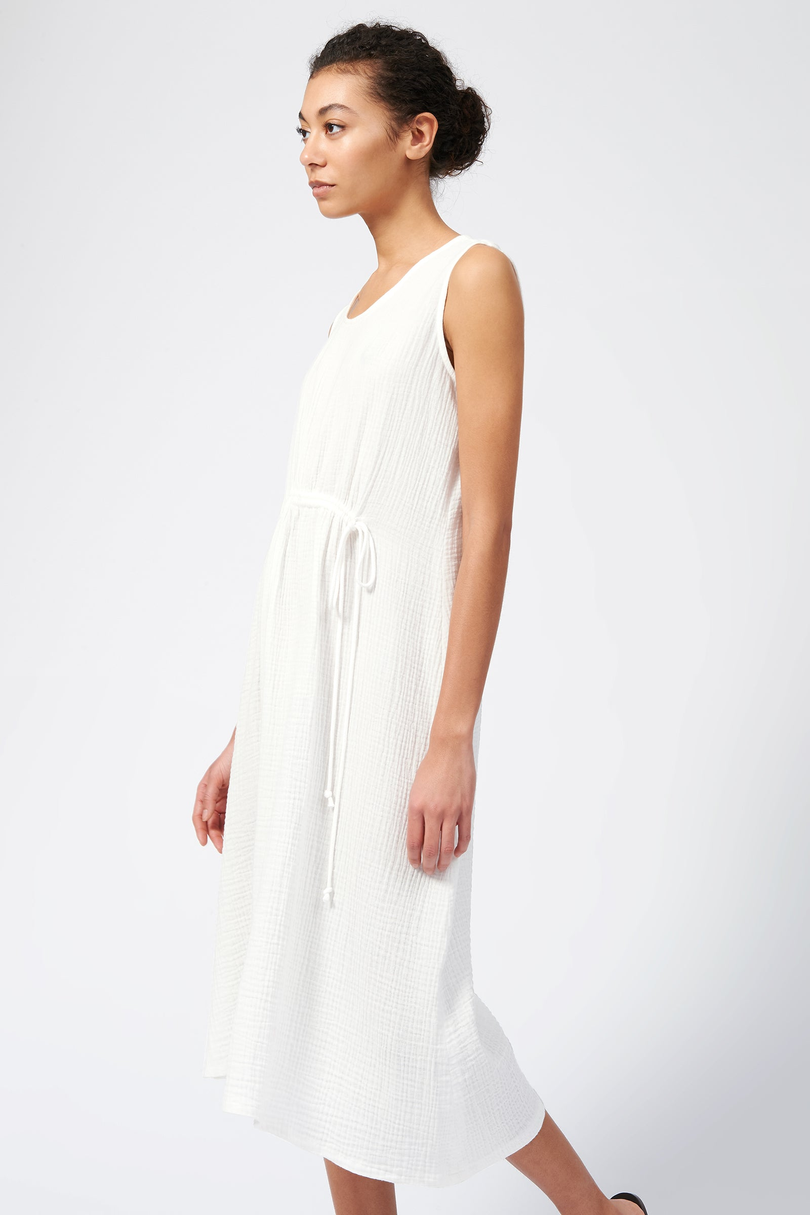Kal Rieman Cinched Front Dress in Natural on Model Side View