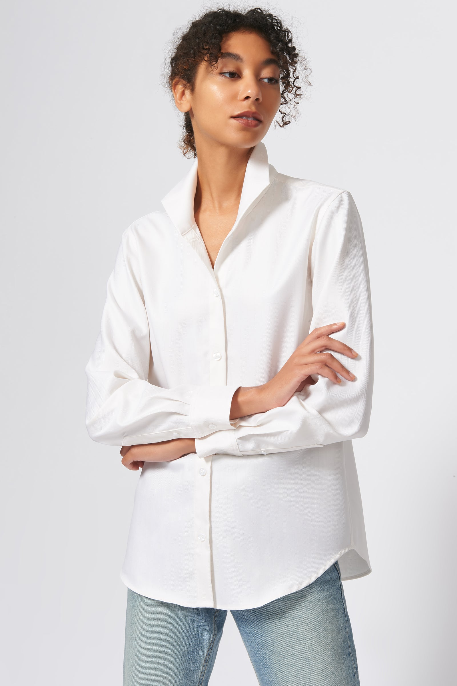 Kal Rieman Ginna Box Pleat Shirt in Ivory Fine Herringbone on Model Front View