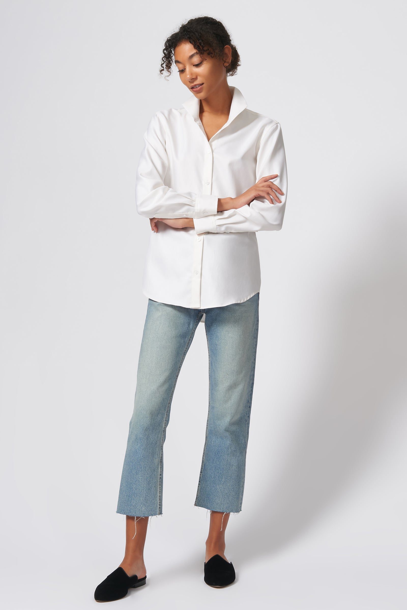Kal Rieman Ginna Box Pleat Shirt in Ivory Fine Herringbone on Model Full Front View