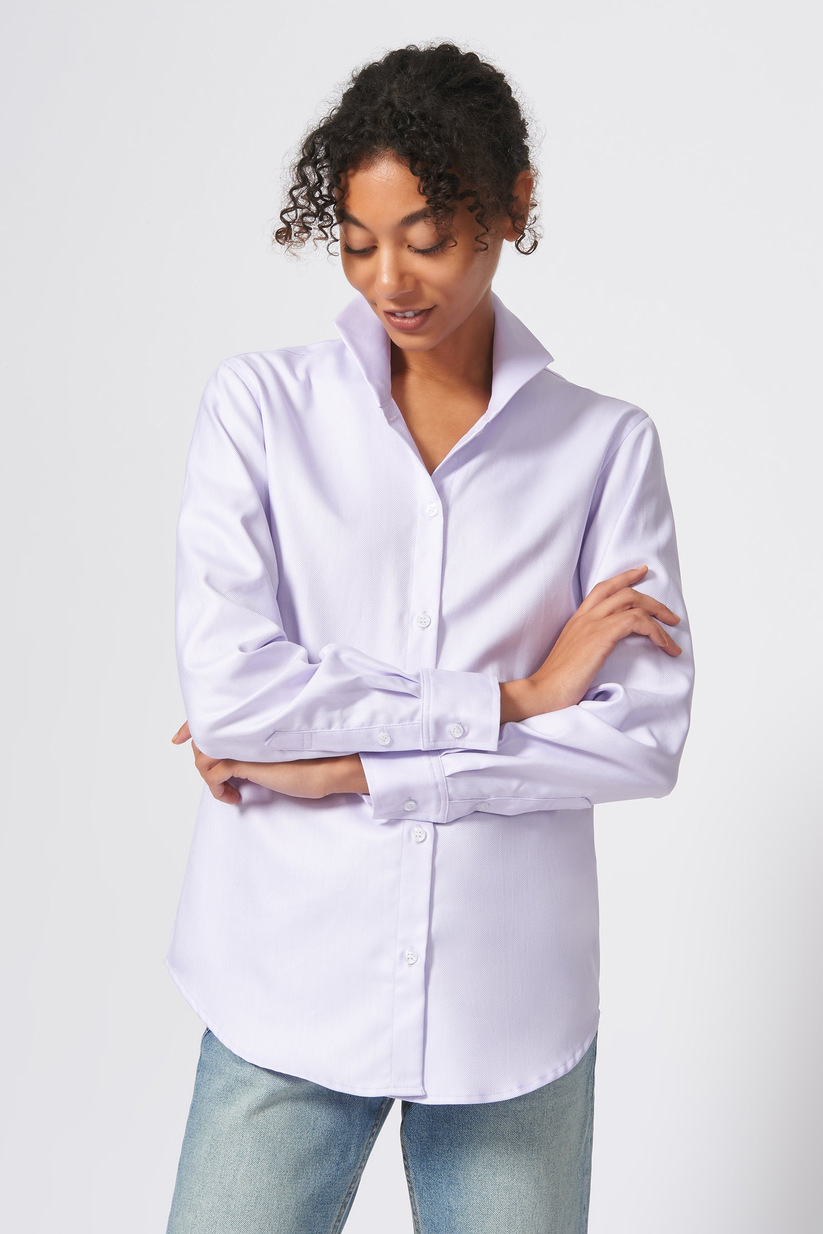 Kal Rieman Ginna Box Pleat Shirt in Lavendar Fine Herringbone on Model Front View