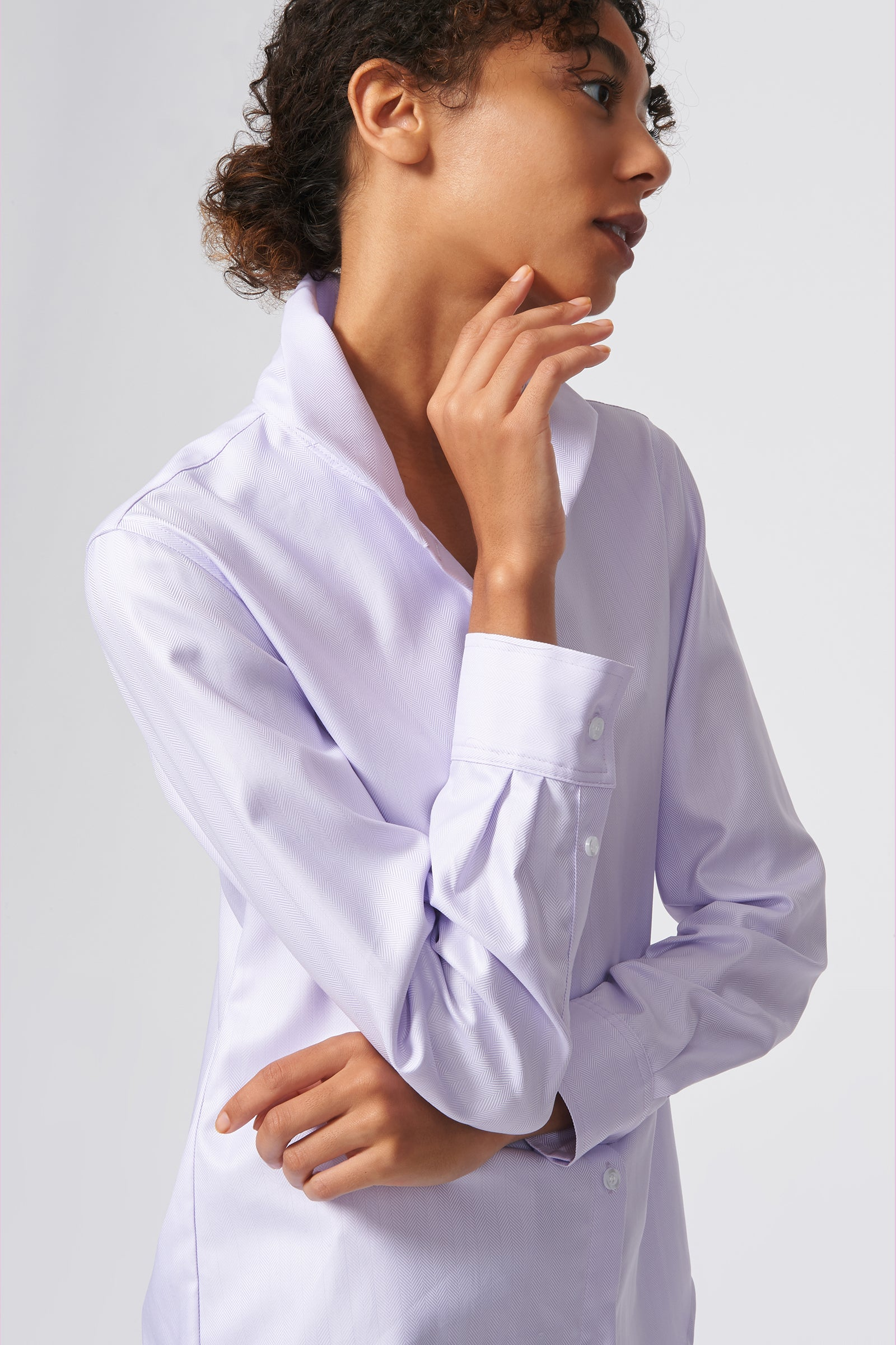 Kal Rieman Ginna Box Pleat Shirt in Lavendar Fine Herringbone on Model Side View