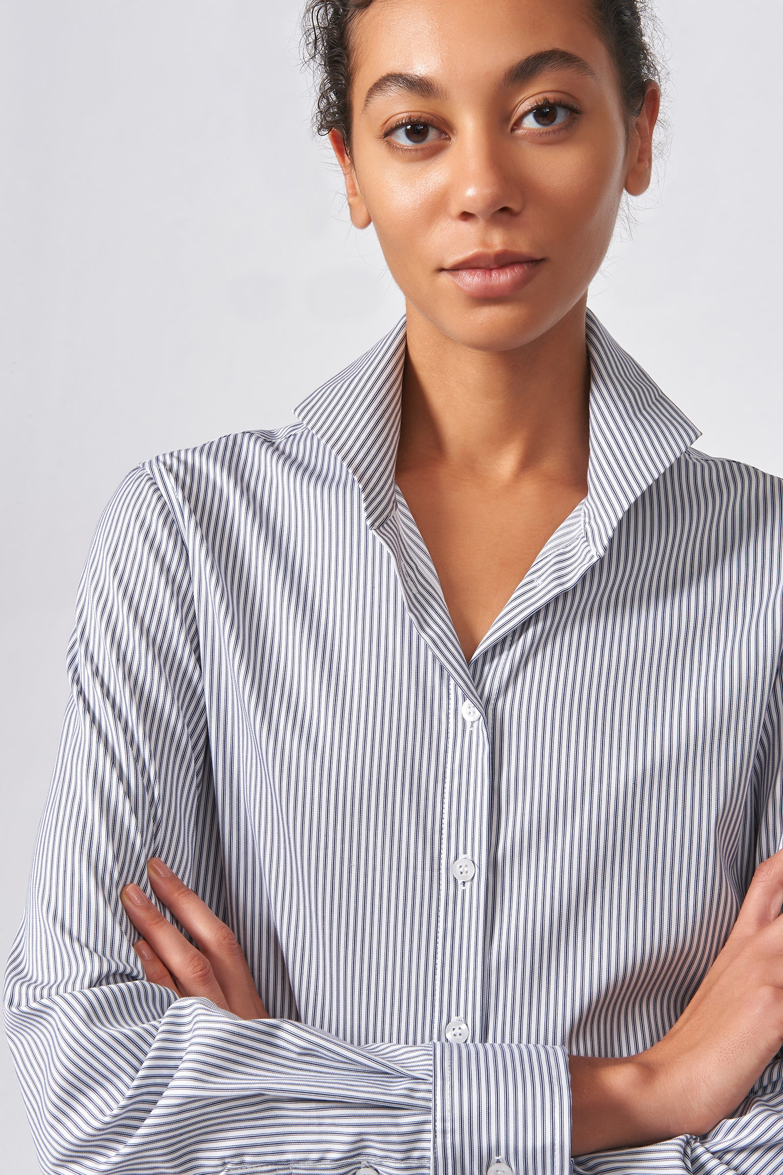 Kal Rieman Ginna Box Pleat Tailored Shirt in Navy Stripe Stretch on Model Front Close-up View