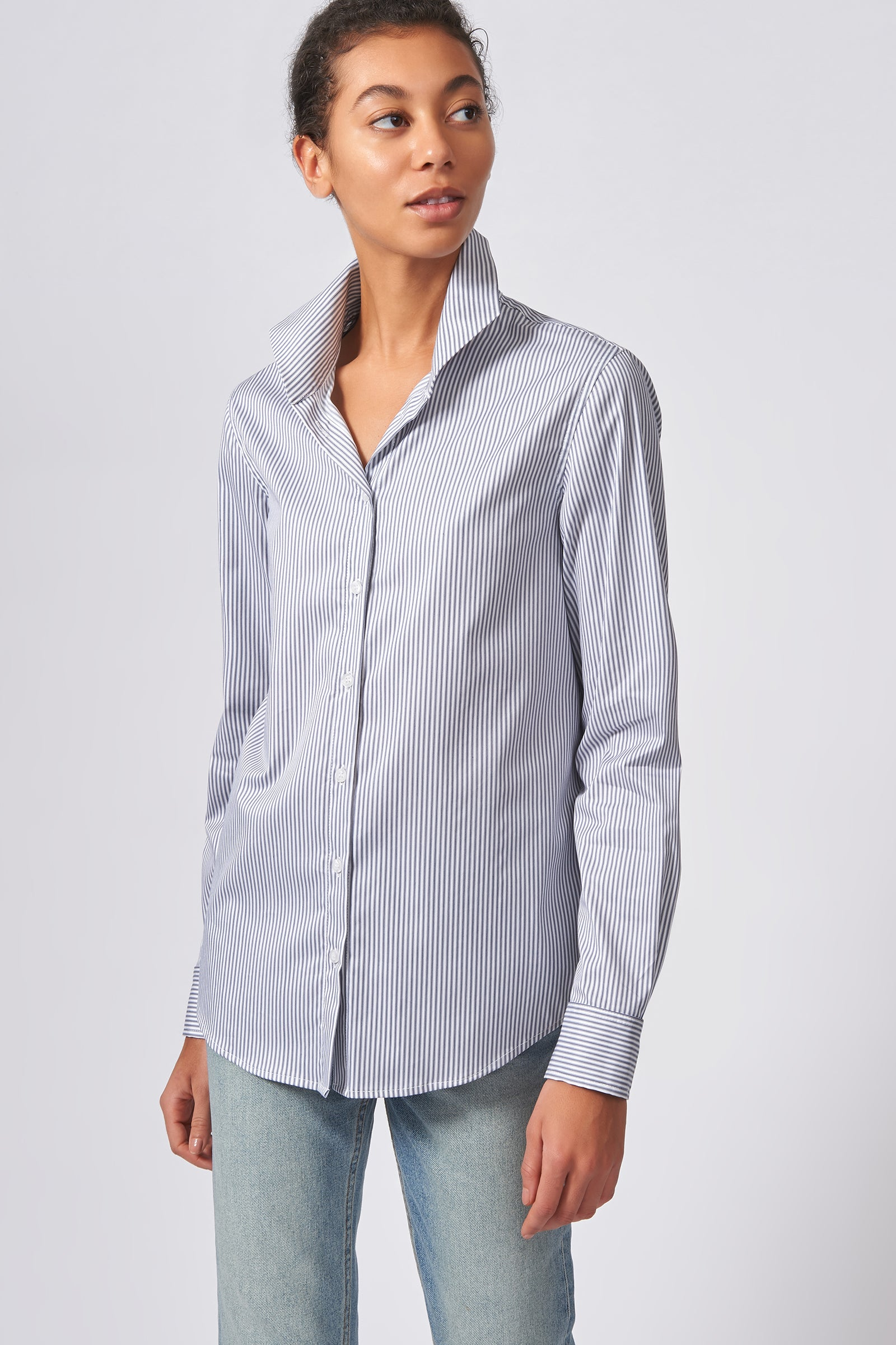 Kal Rieman Ginna Box Pleat Tailored Shirt in Navy Stripe Stretch on Model Front View