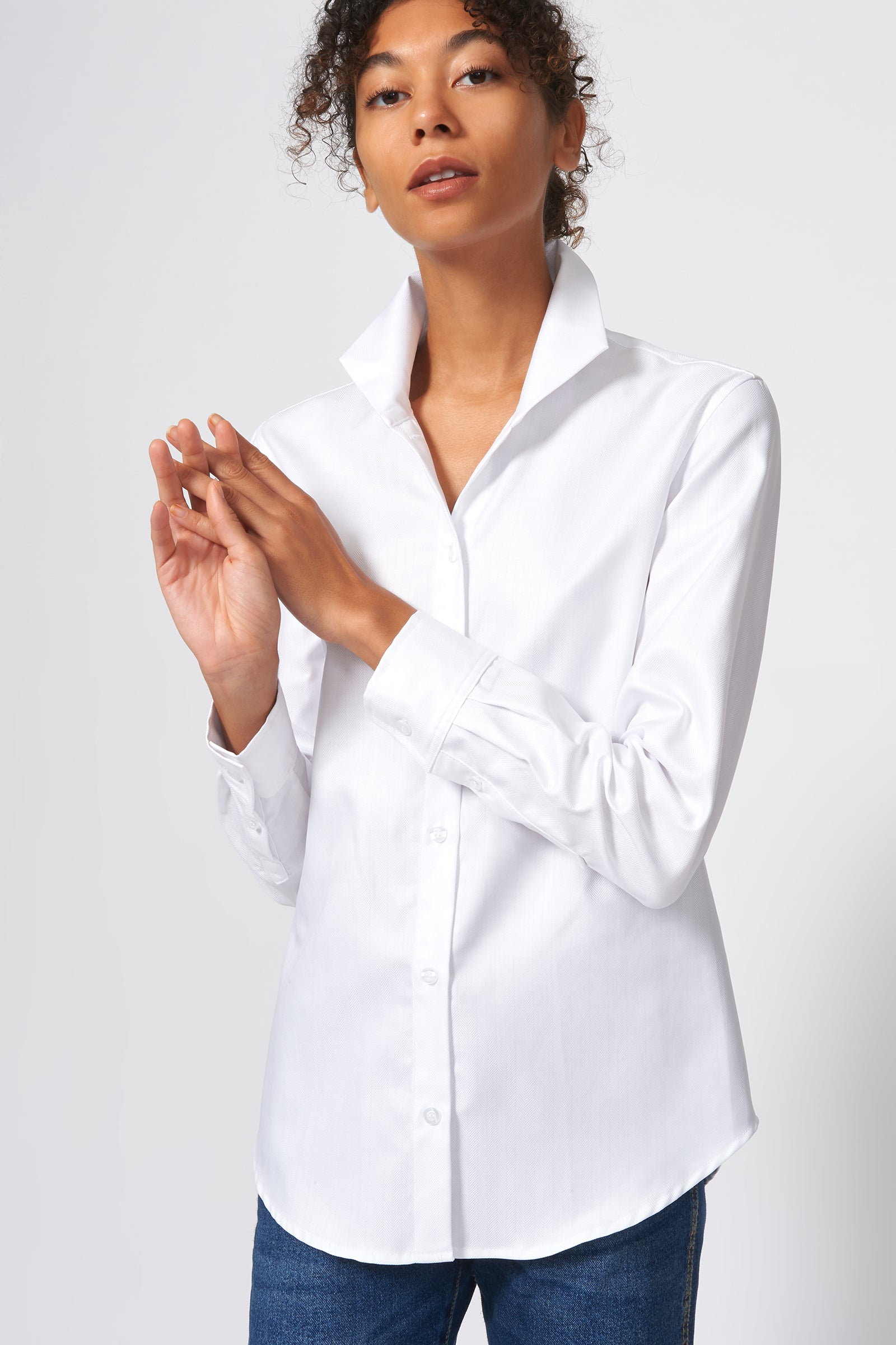 Kal Rieman Ginna Box Pleat Shirt in White Fine Herringbone on Model Front Alternate View
