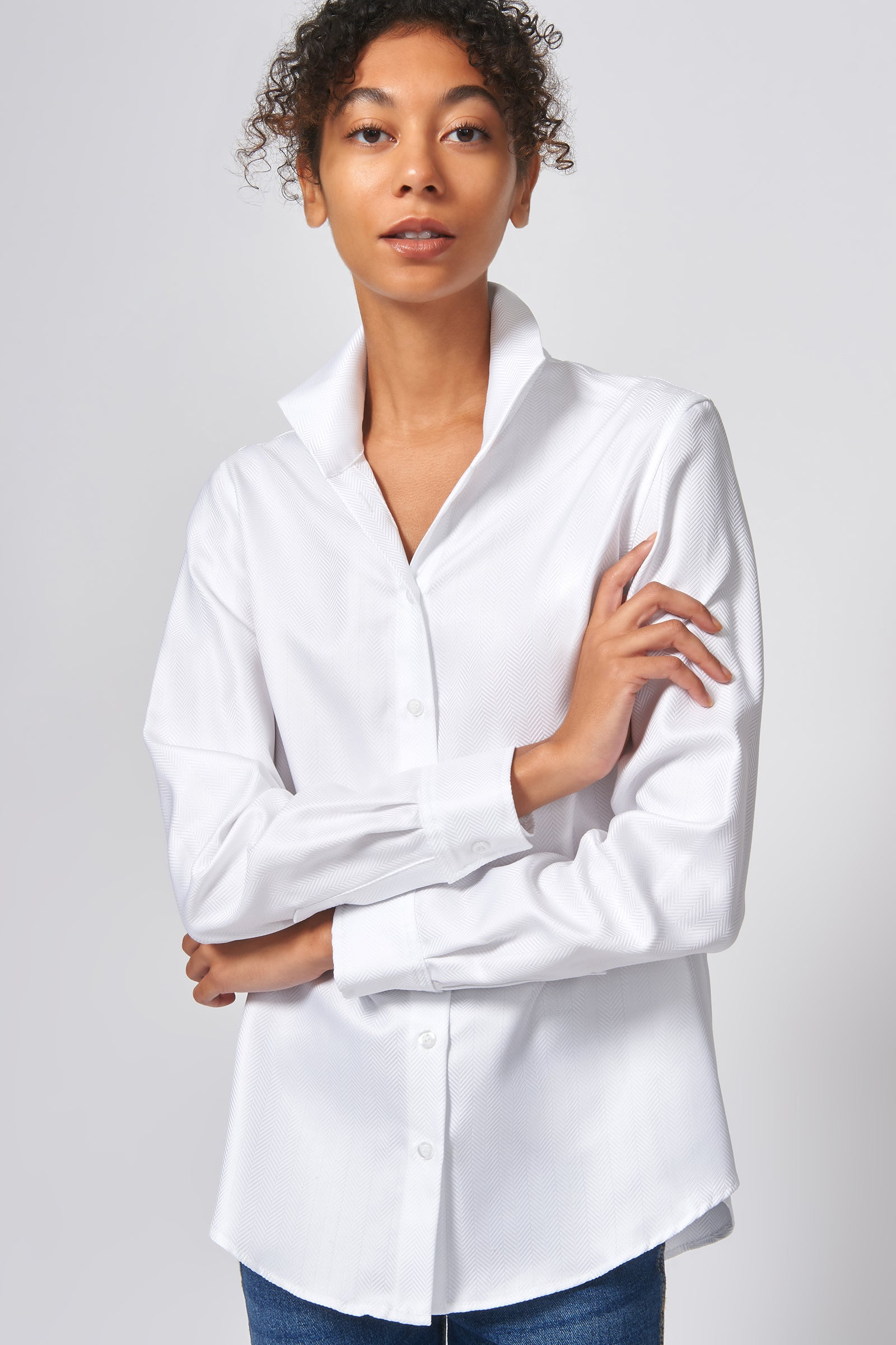Kal Rieman Ginna Box Pleat Shirt in White Herringbone on Model Front Alternate View
