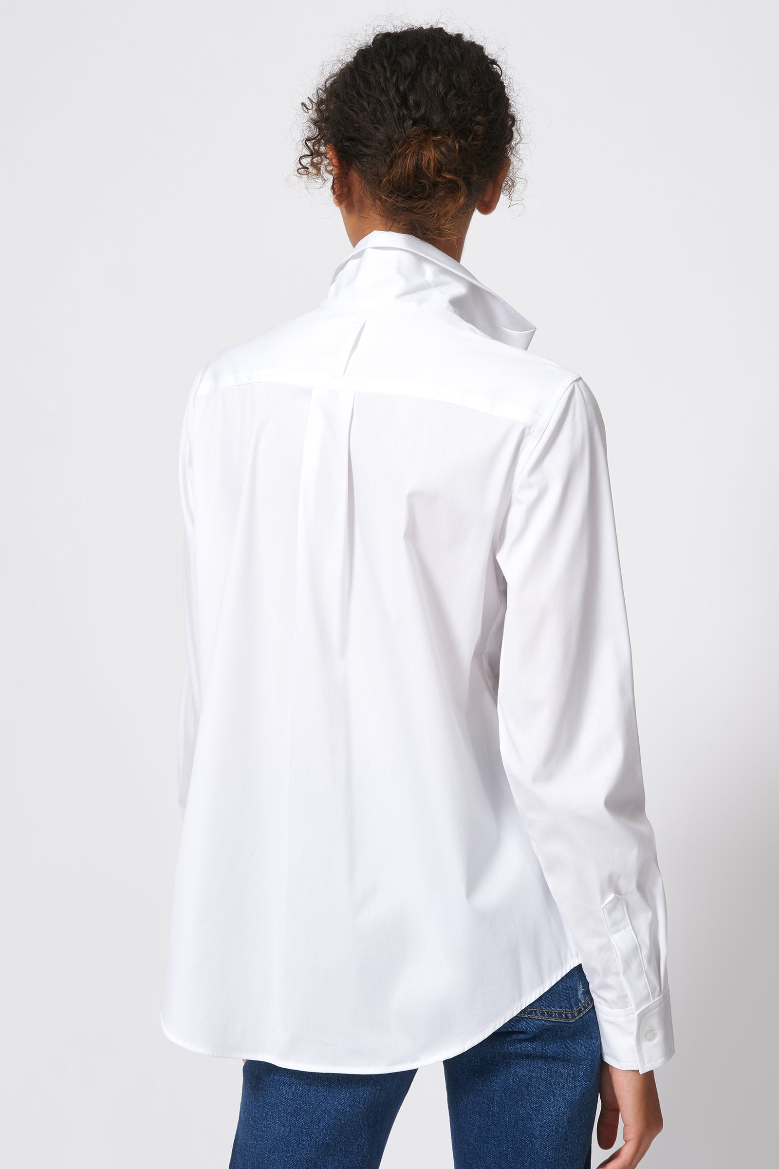 Kal Rieman Ginna Box Pleat Shirt in White Stretch on Model Back View