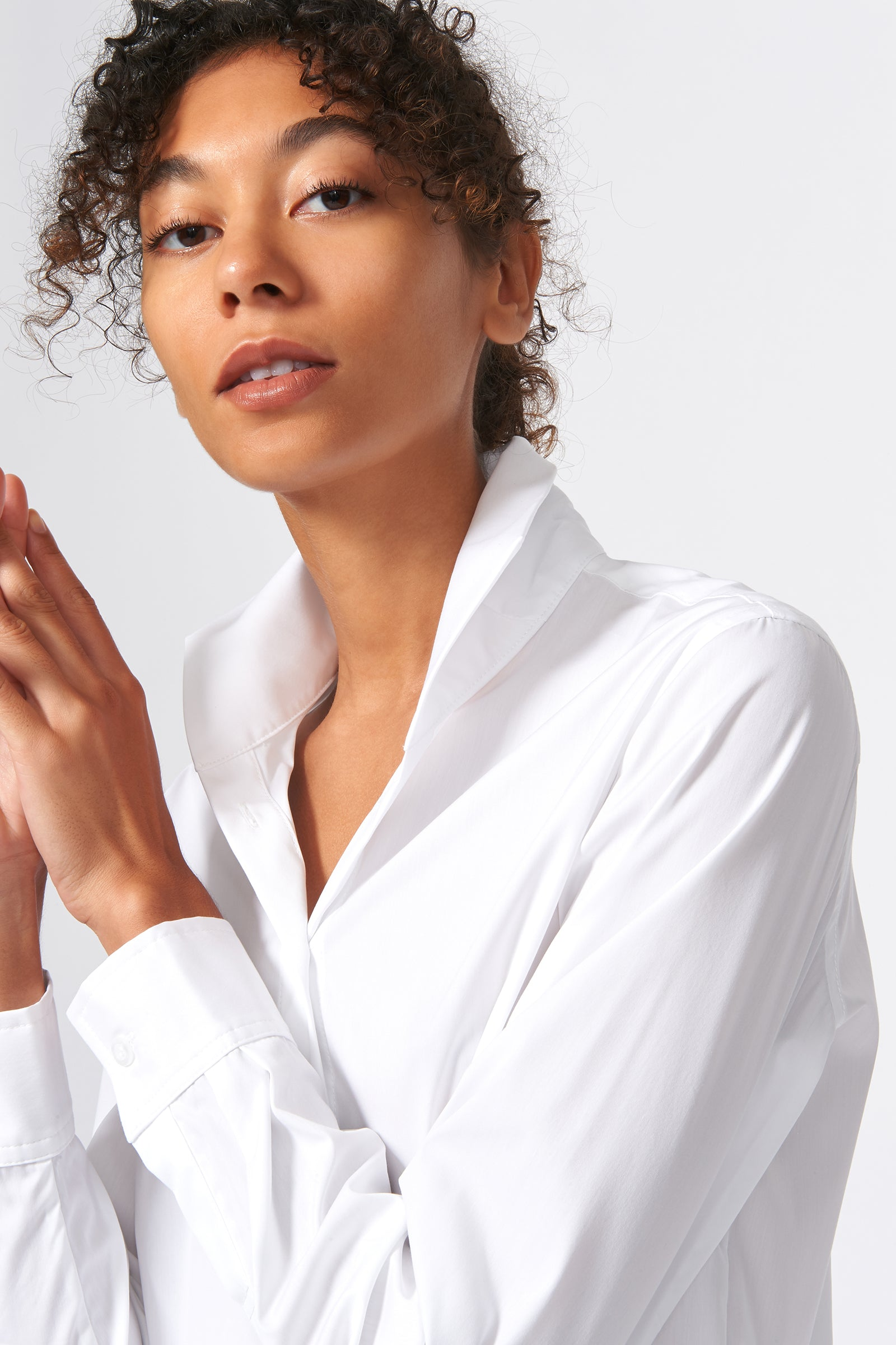 Kal Rieman Ginna Box Pleat Shirt in White Stretch on Model Front Detail View