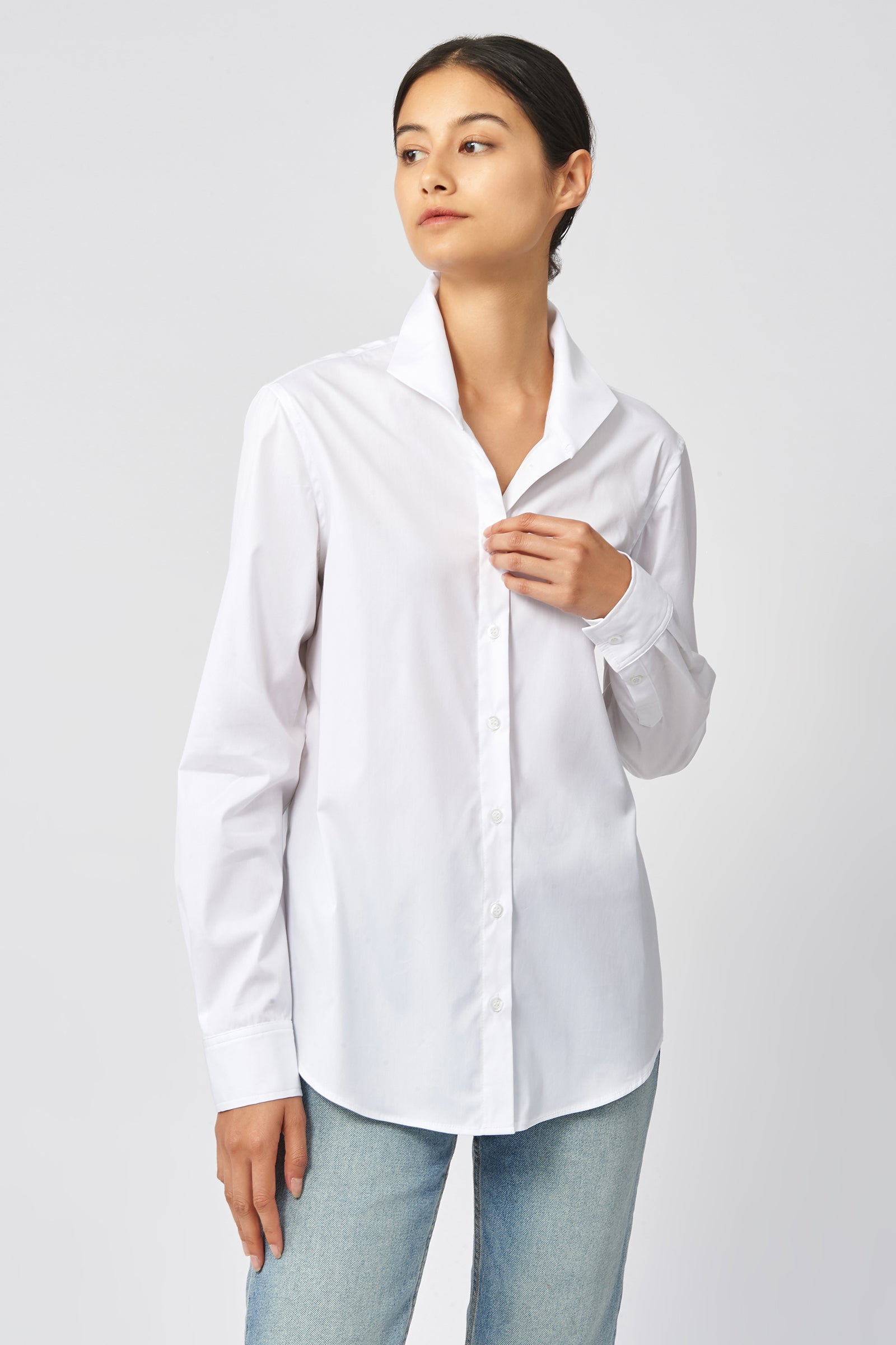 Kal Rieman Ginna Box Pleat Shirt in White Stretch on Model Front View