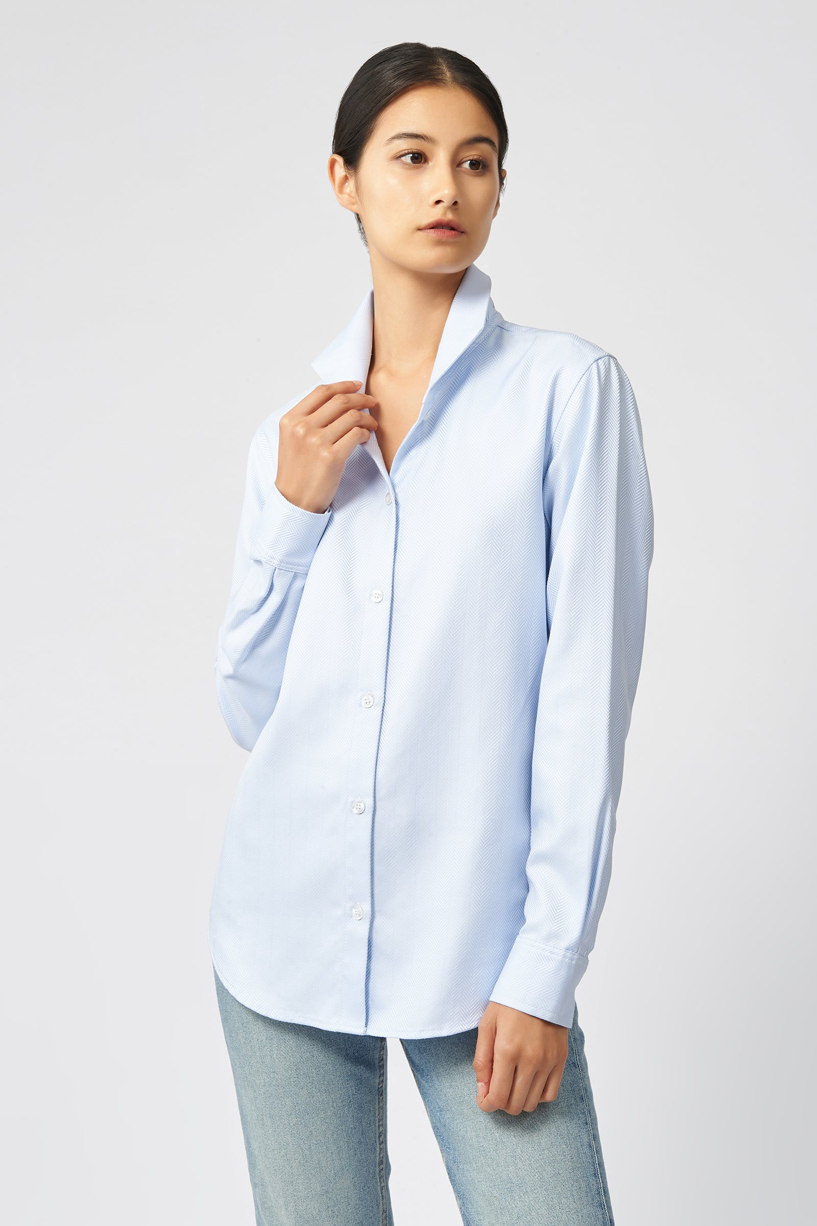 Kal Rieman Ginna Tailored Shirt in French Blue Herringbone on Model Front View