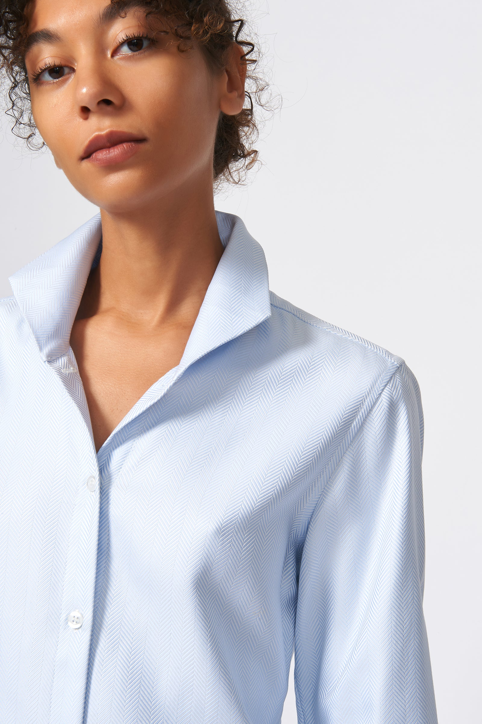 Kal Rieman Ginna Tailored Shirt in French Blue Herringbone on Model Detail View